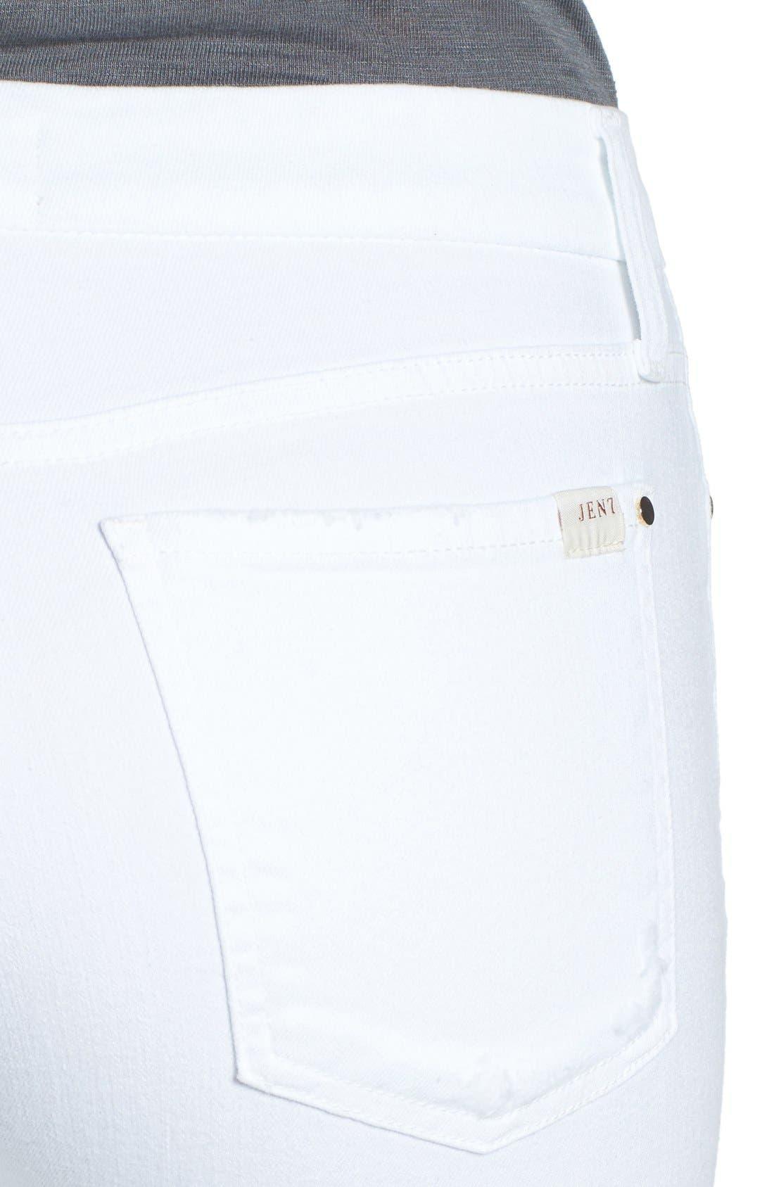 Release Hem Stretch Skinny Ankle Jeans,                             Alternate thumbnail 4, color,                             WHITE DENIM