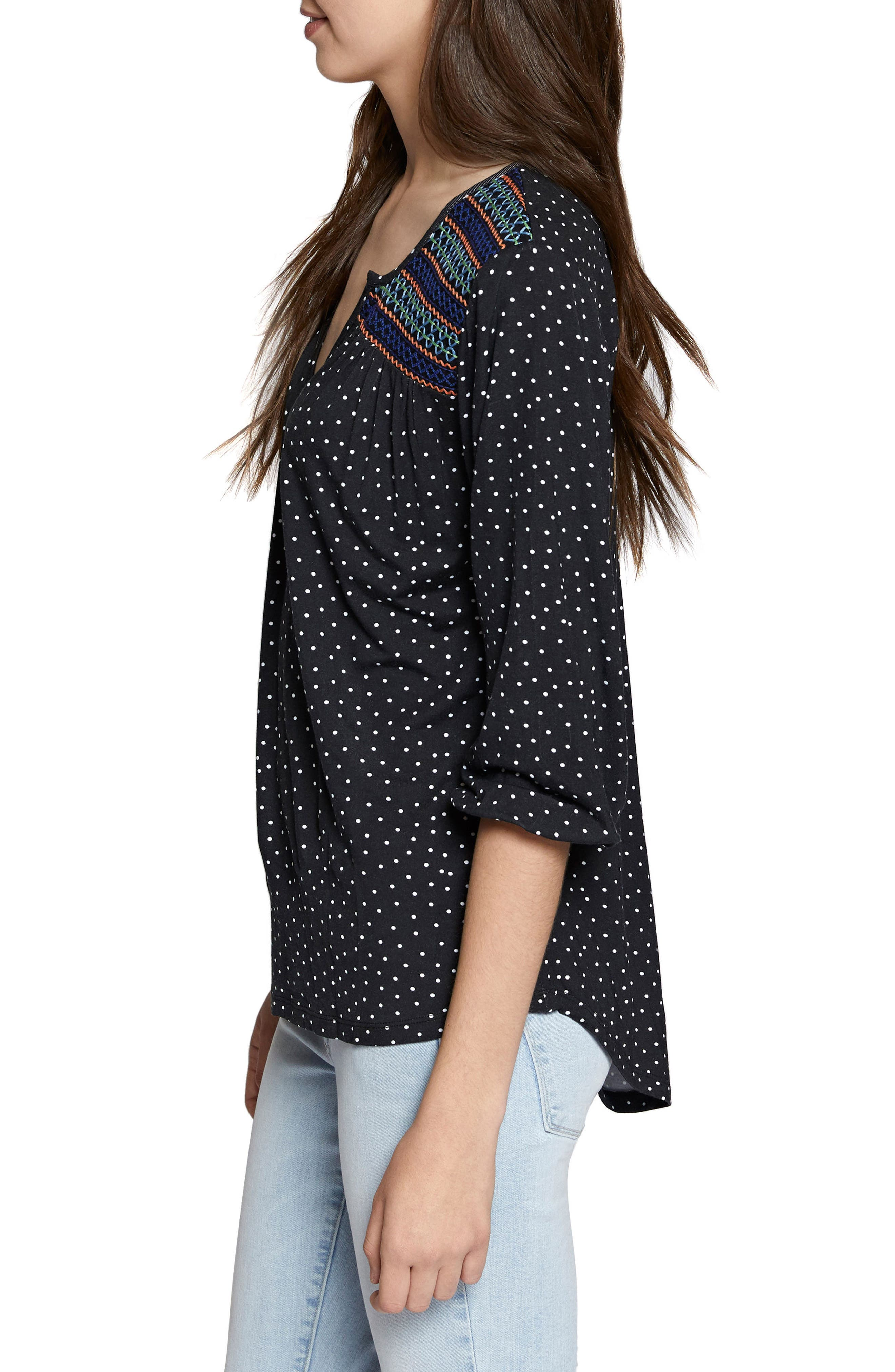 Anabelle Polka Dot Top,                             Alternate thumbnail 3, color,                             001