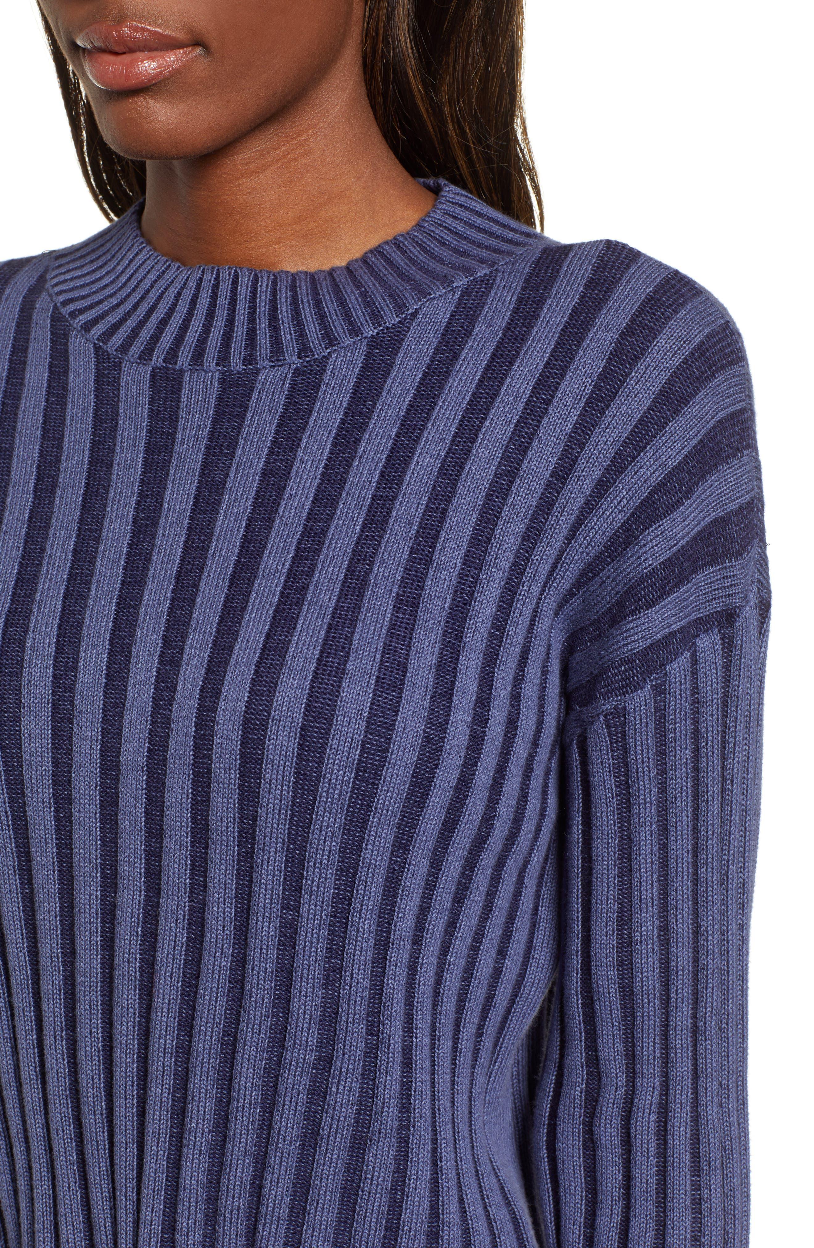 Shadow Rib Crop Sweater,                             Alternate thumbnail 5, color,                             NAVY EVENING