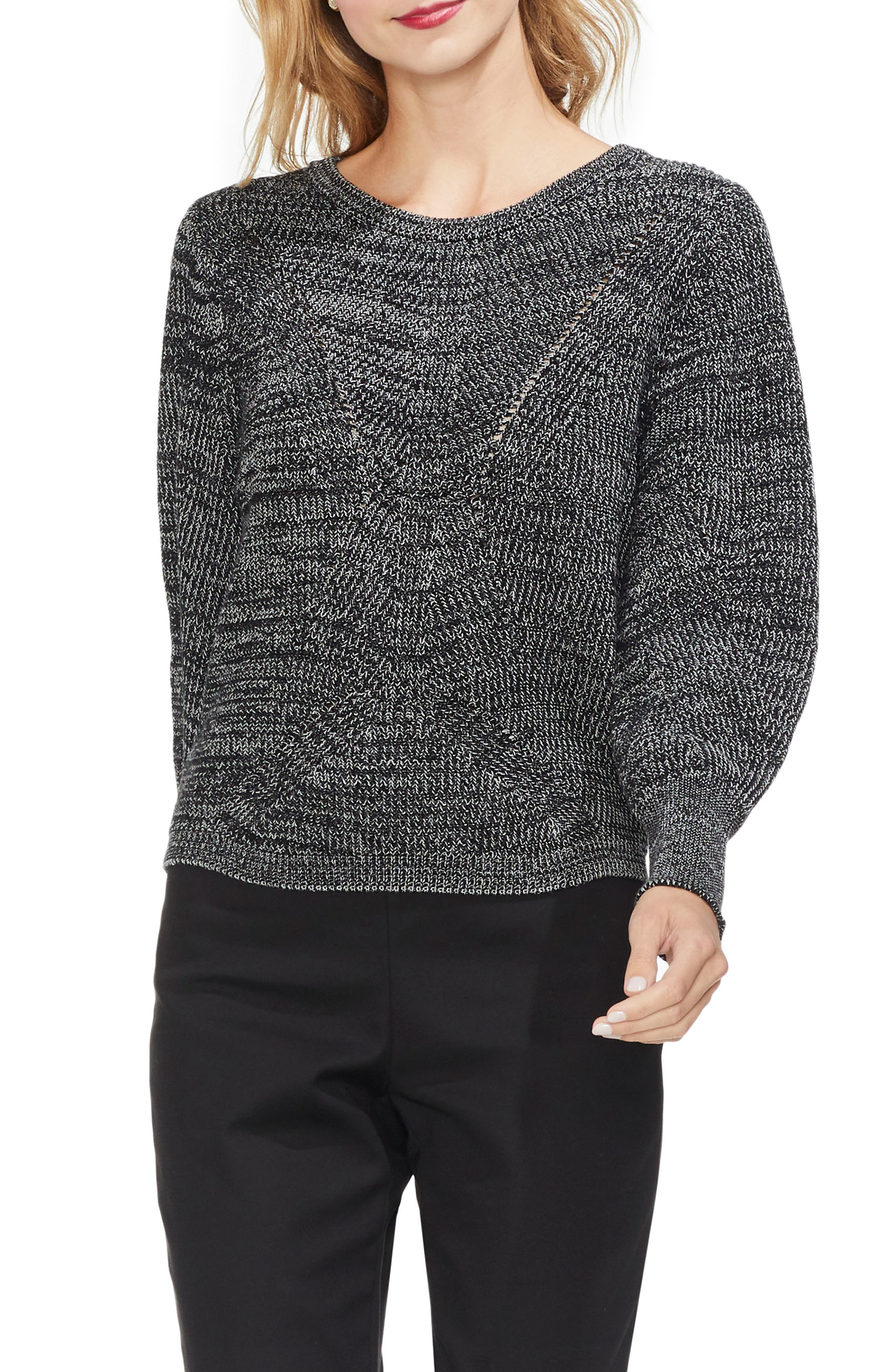 Lace-Up Back Sweater, Main, color, BLACK MARLE