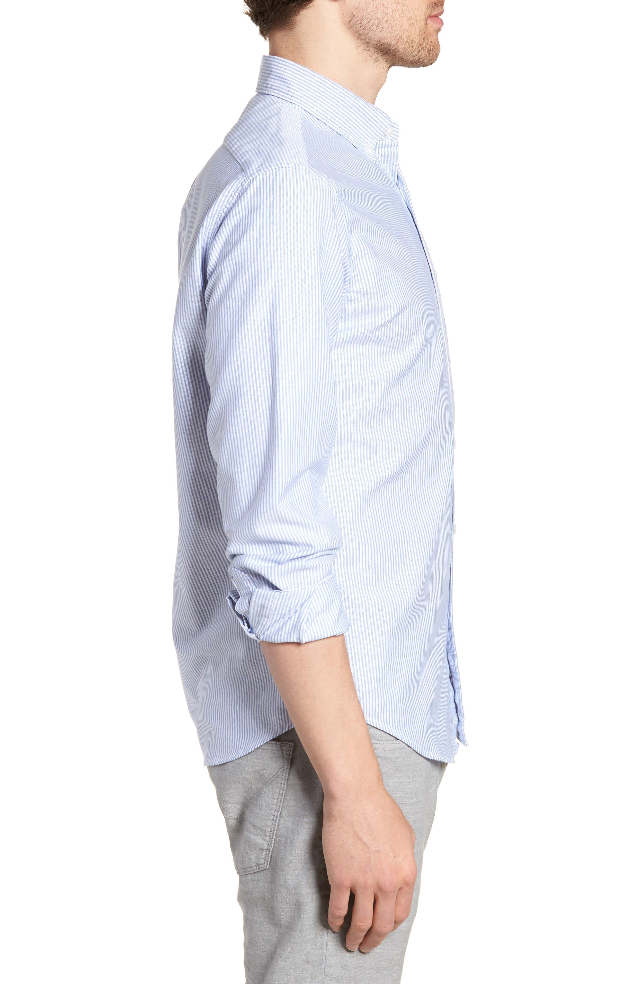 Slim Fit Stretch Stripe Pima Cotton Oxford Shirt,                             Alternate thumbnail 3, color,                             400