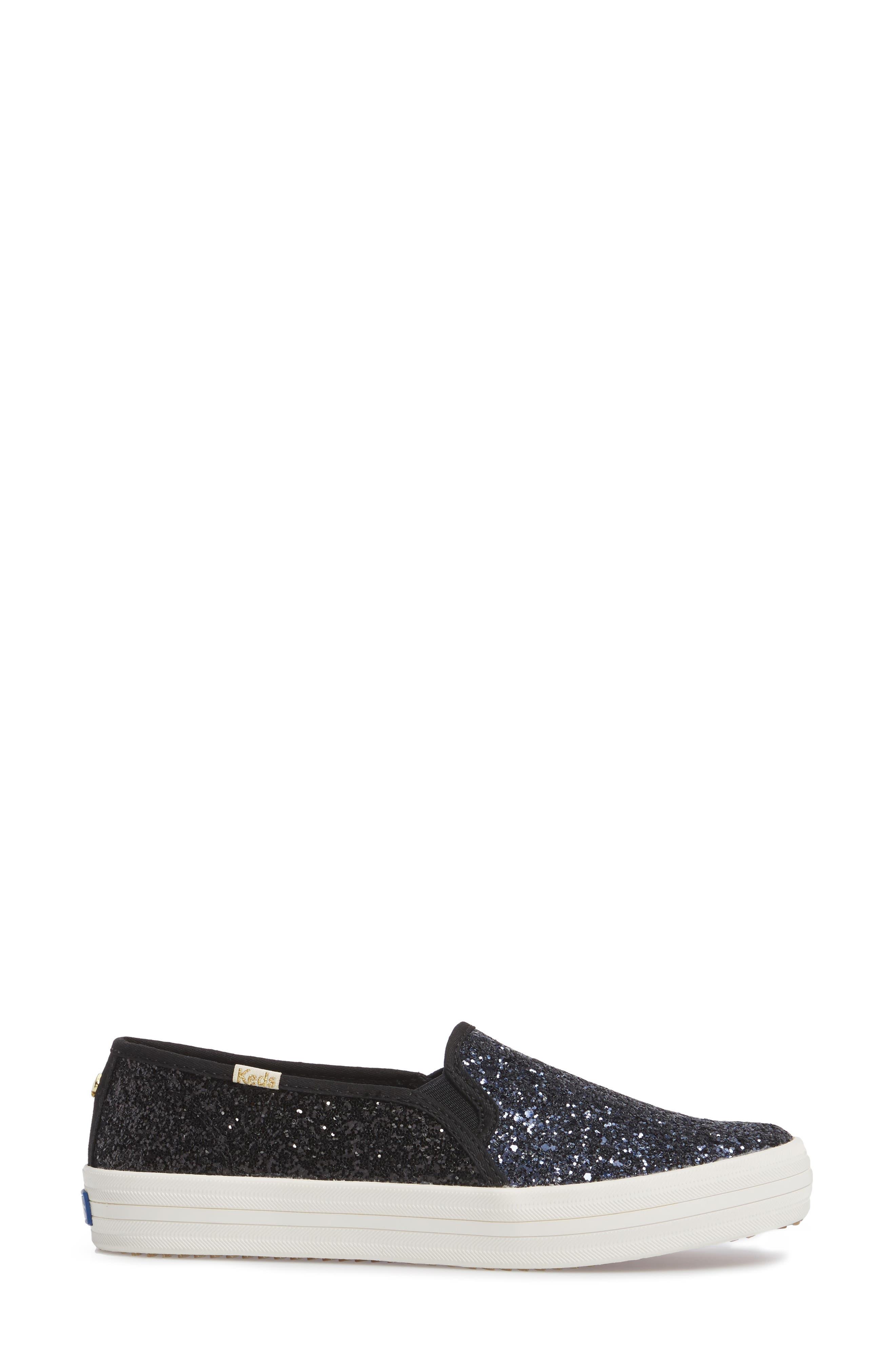 double decker glitter slip-on sneaker,                             Alternate thumbnail 3, color,                             410