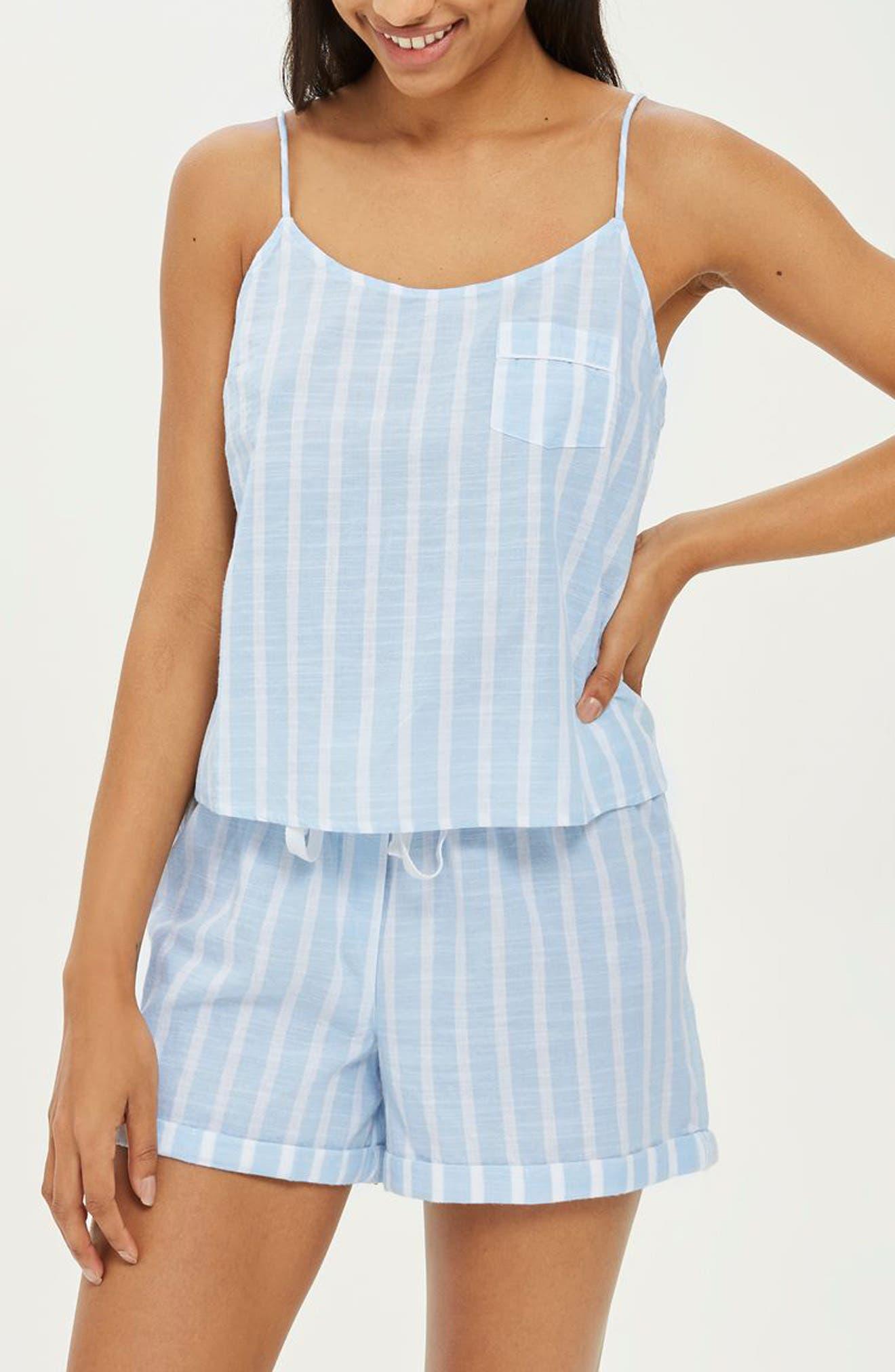 Stripe Camisole Pajama Top,                             Main thumbnail 1, color,                             LIGHT BLUE