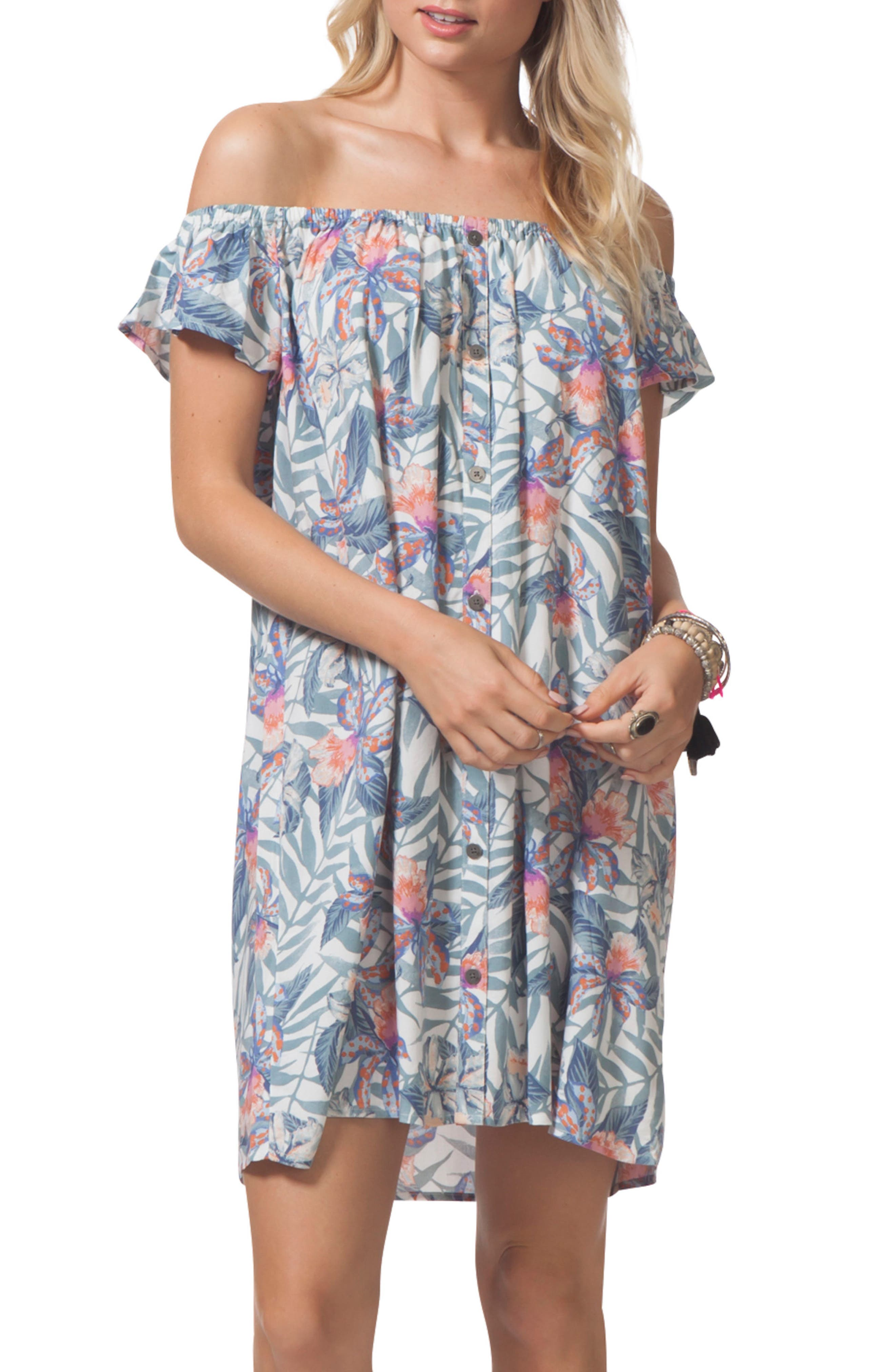 Tropic Off the Shoulder Cover-Up Dress,                             Main thumbnail 1, color,