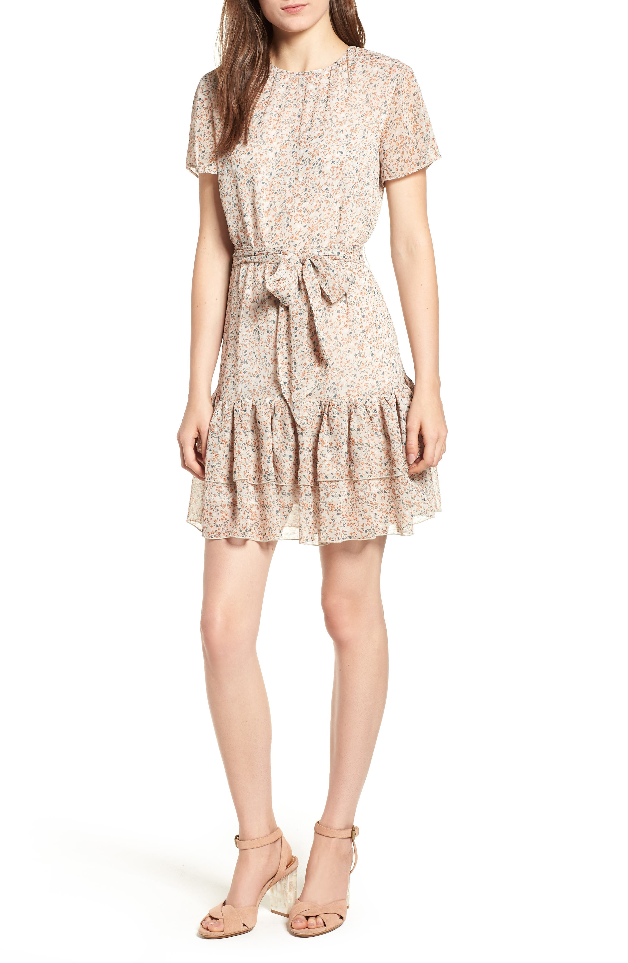 Cosette Minidress,                         Main,                         color, PEACH DAHLIA FLORAL
