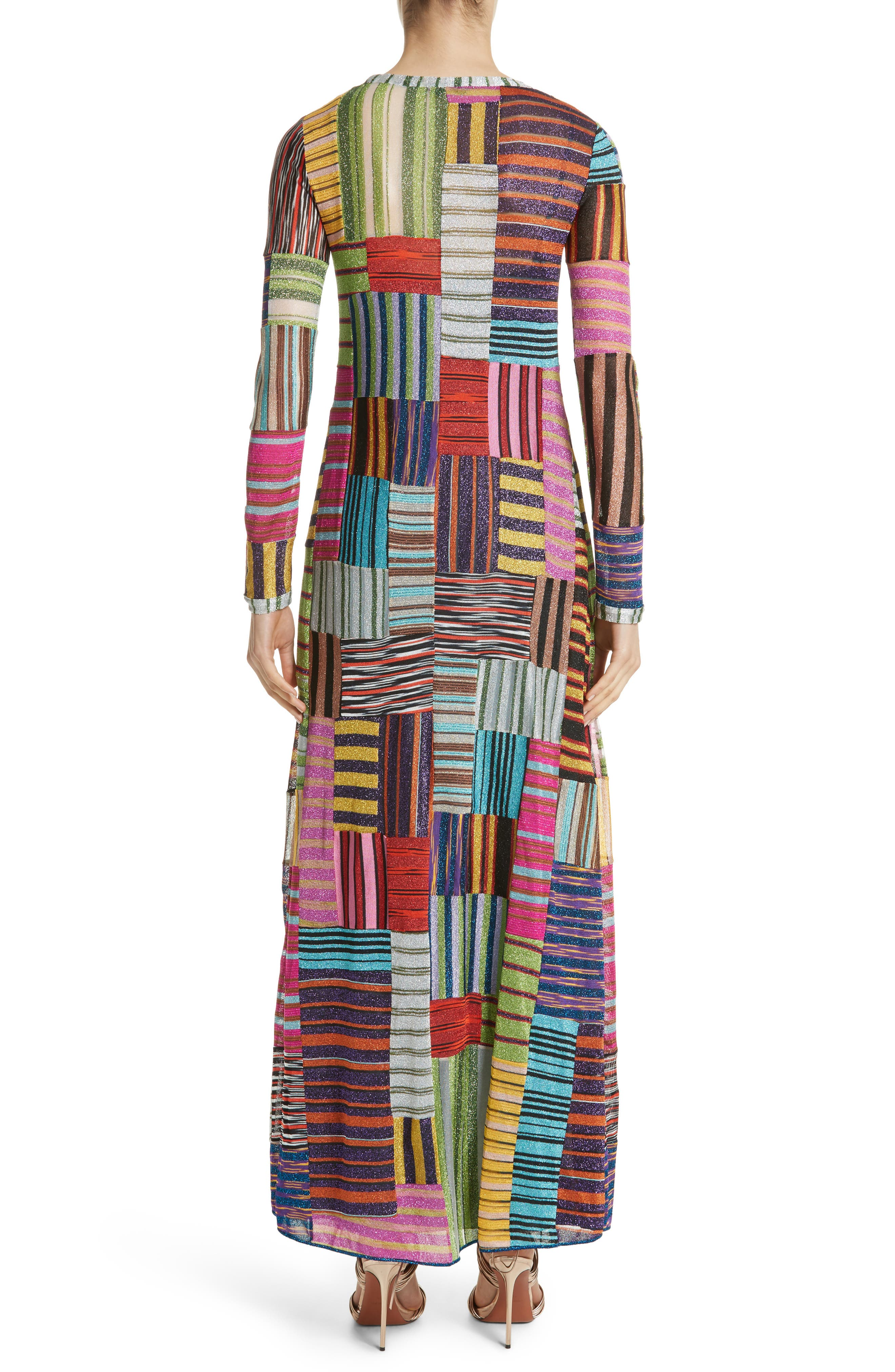Metallic Patchwork Stripe Knit Maxi Dress,                             Alternate thumbnail 2, color,