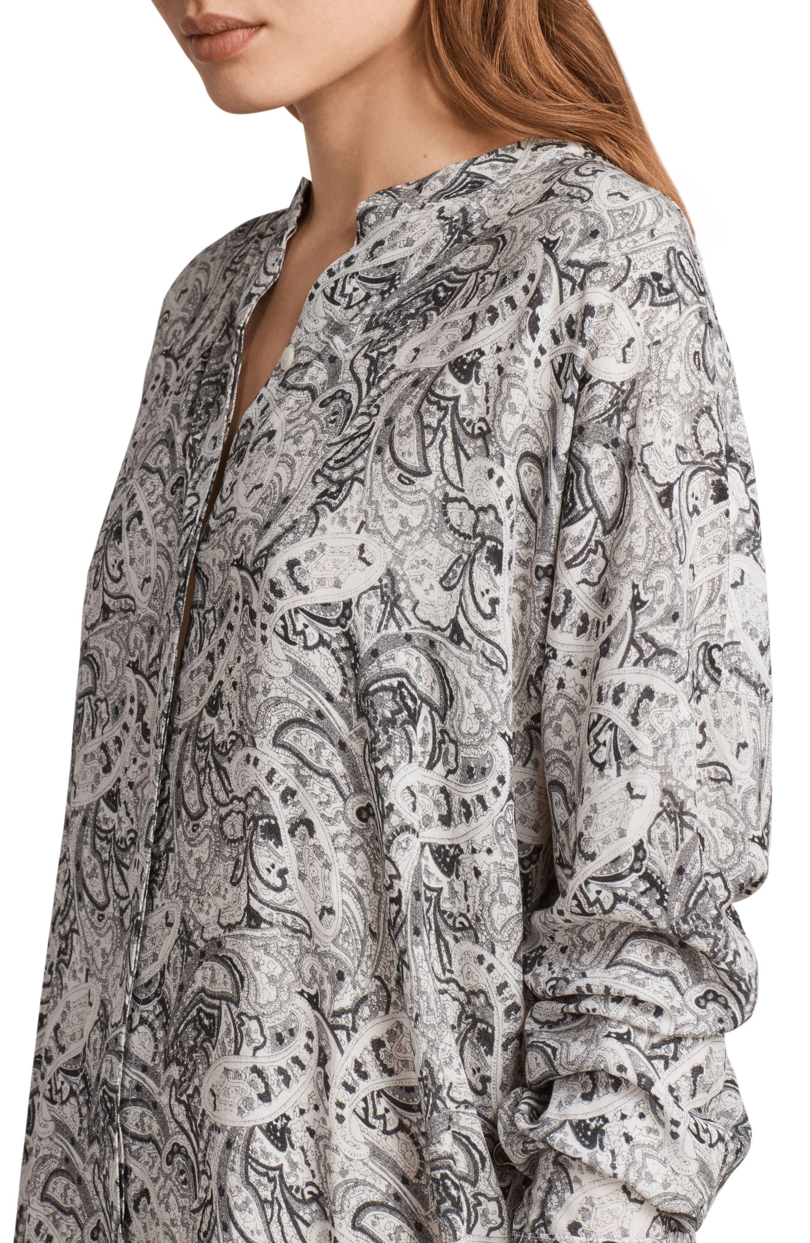 Cayla Paisley Shirtdress,                             Alternate thumbnail 5, color,                             100