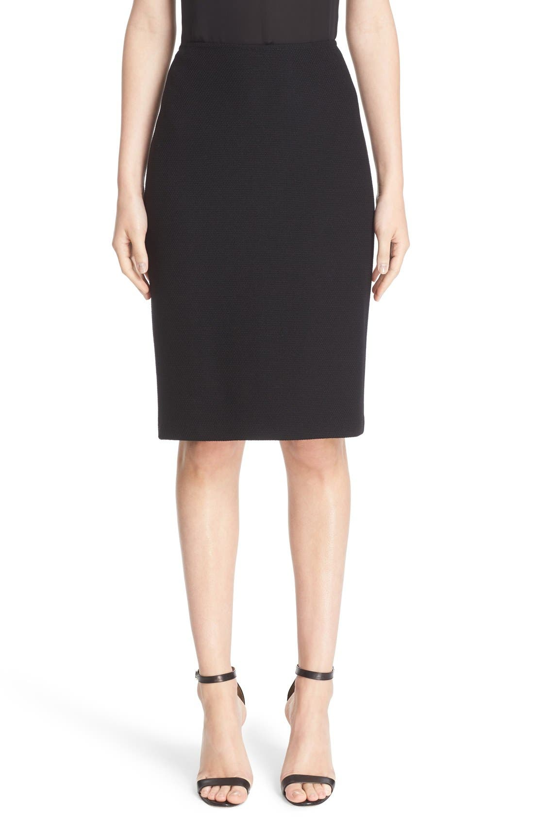 Micro Bouclé Pencil Skirt,                             Main thumbnail 1, color,                             CAVIAR
