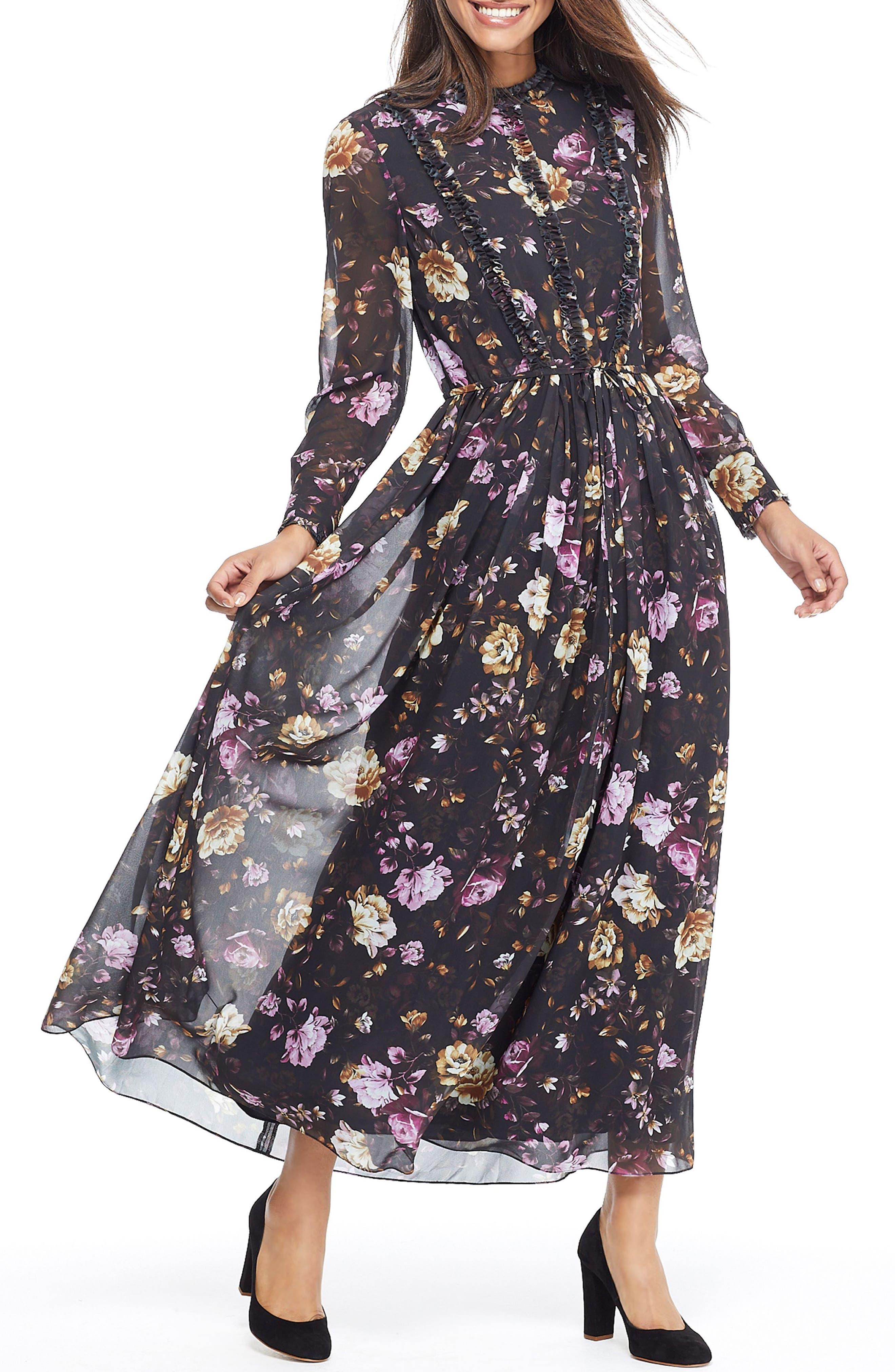 Gal Meets Glam Collection Makela Floral Chiffon Maxi Dress, Brown