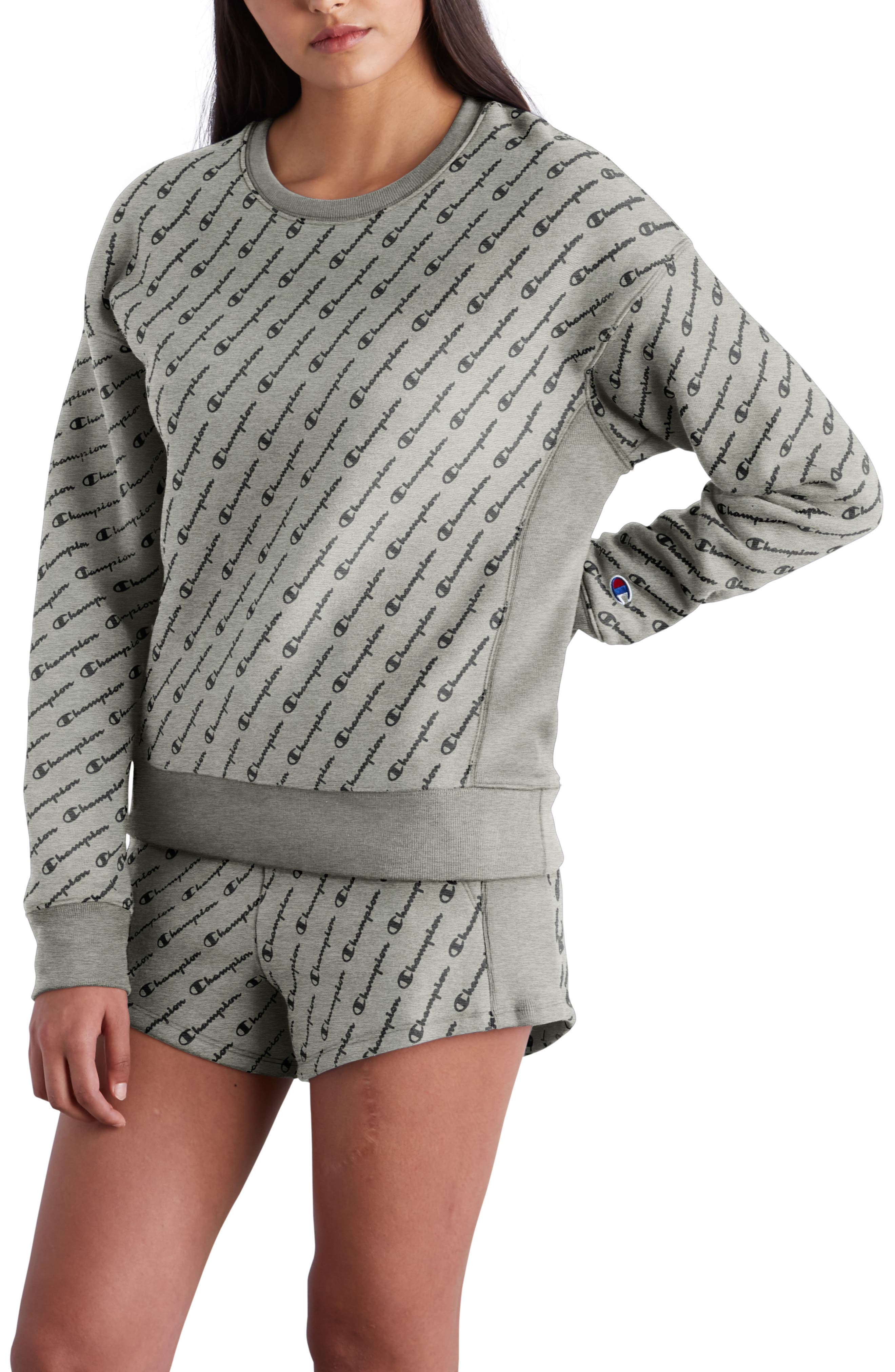 All Over Logo Reverse Weave Sweatshirt,                         Main,                         color, DIAG LOGO SCRIPT HEATHER