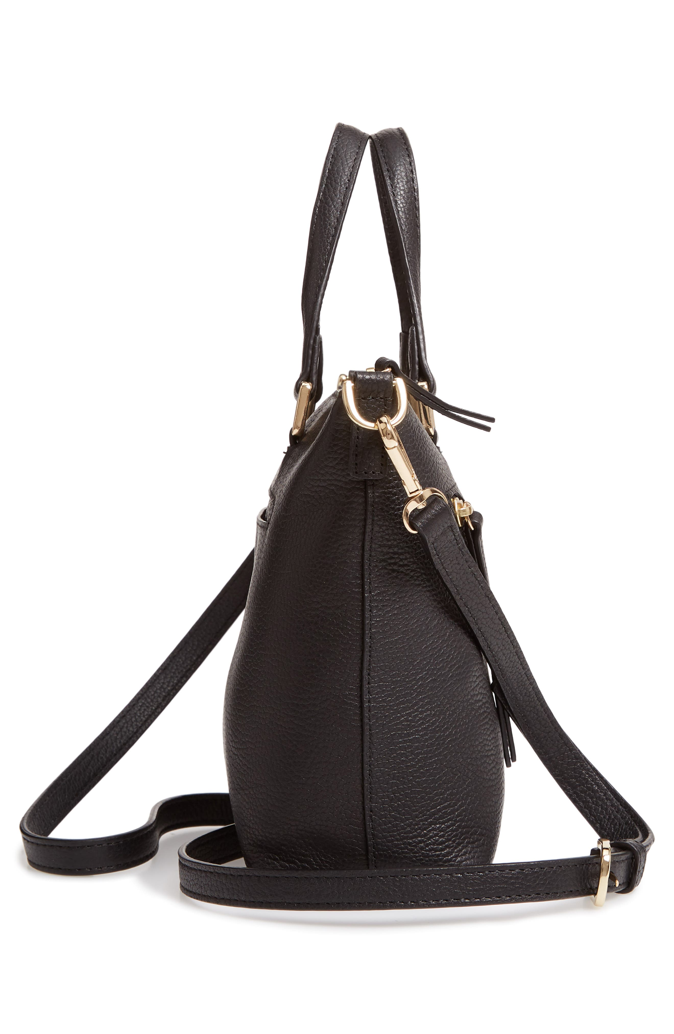 Lexa Leather Crossbody Bag,                             Alternate thumbnail 5, color,                             BLACK