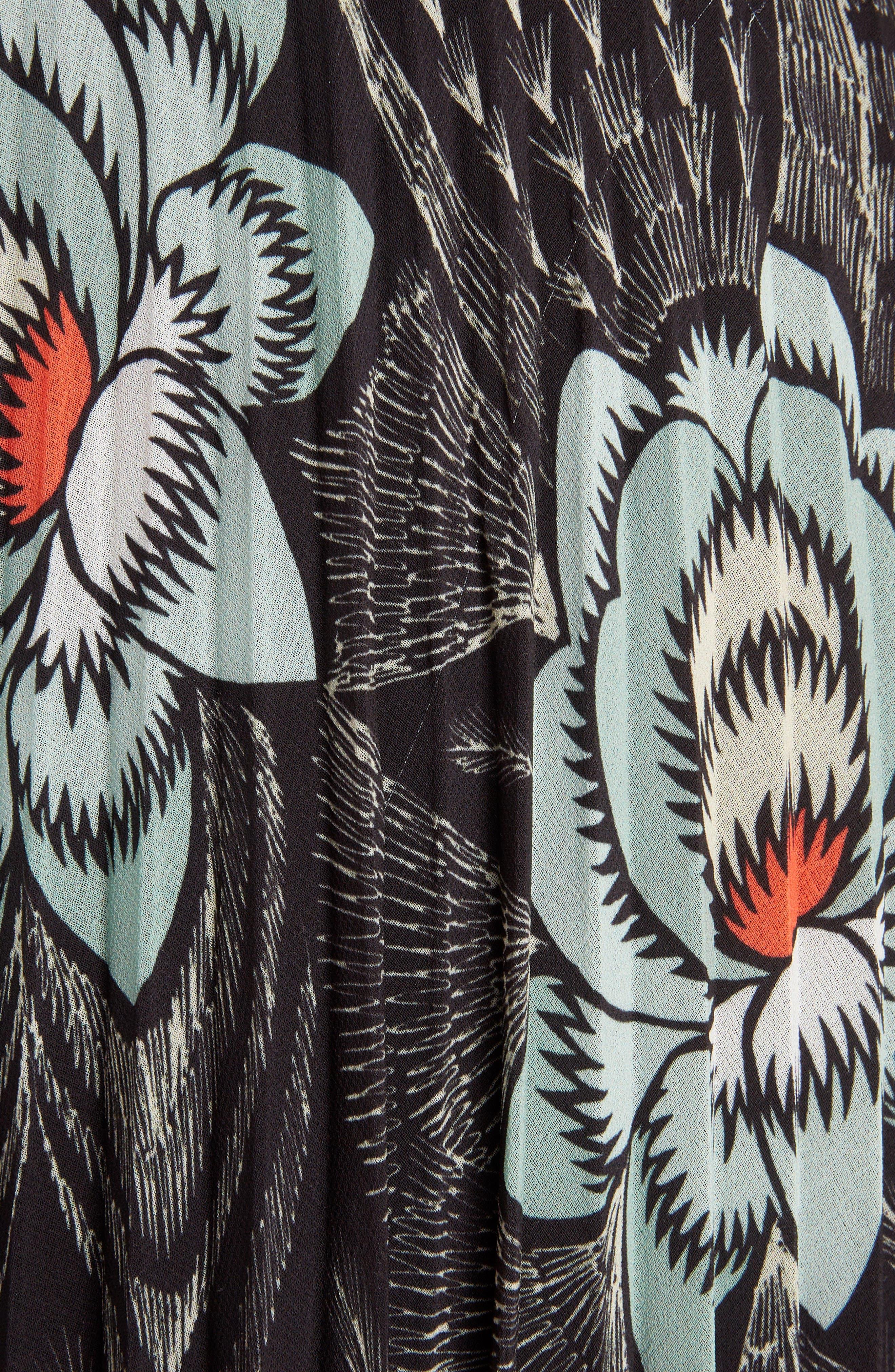 Pleated Floral Print & Metallic Skirt,                             Alternate thumbnail 5, color,                             BLACK