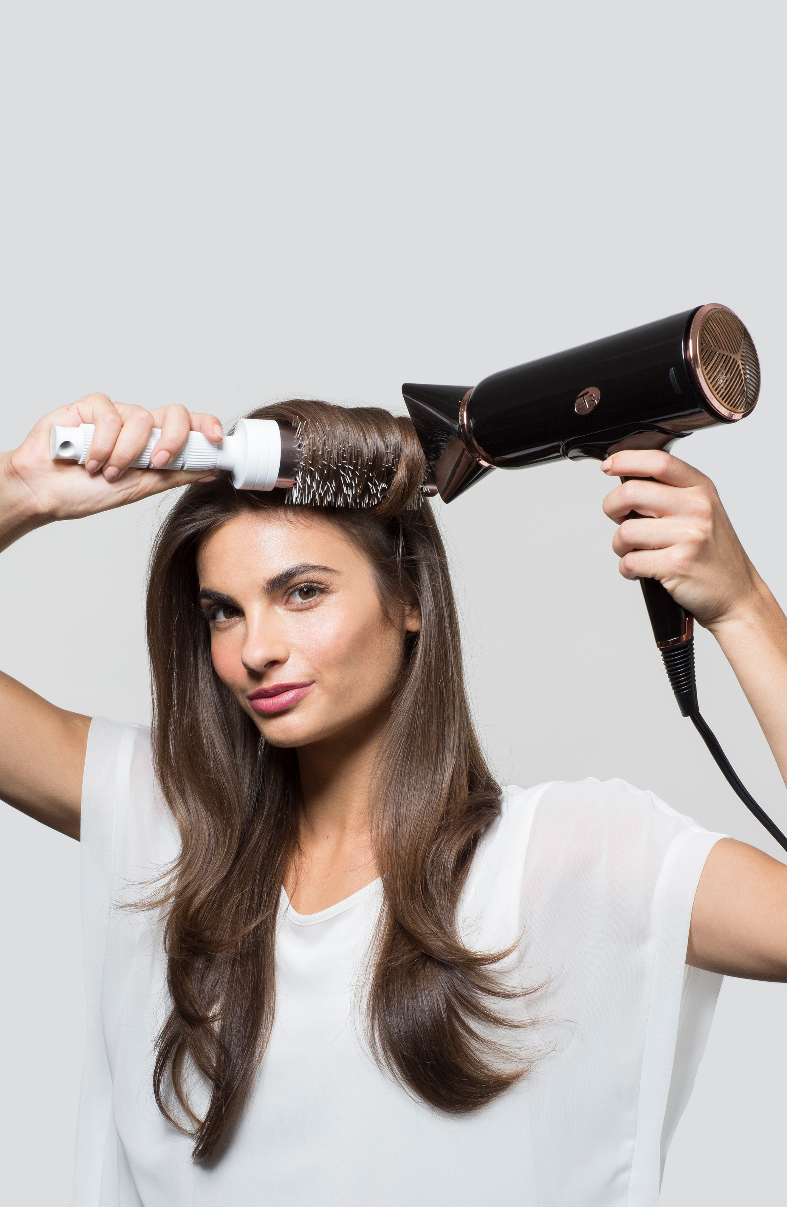 Cura LUXE Hair Dryer,                             Alternate thumbnail 6, color,                             BLACK/ ROSE GOLD