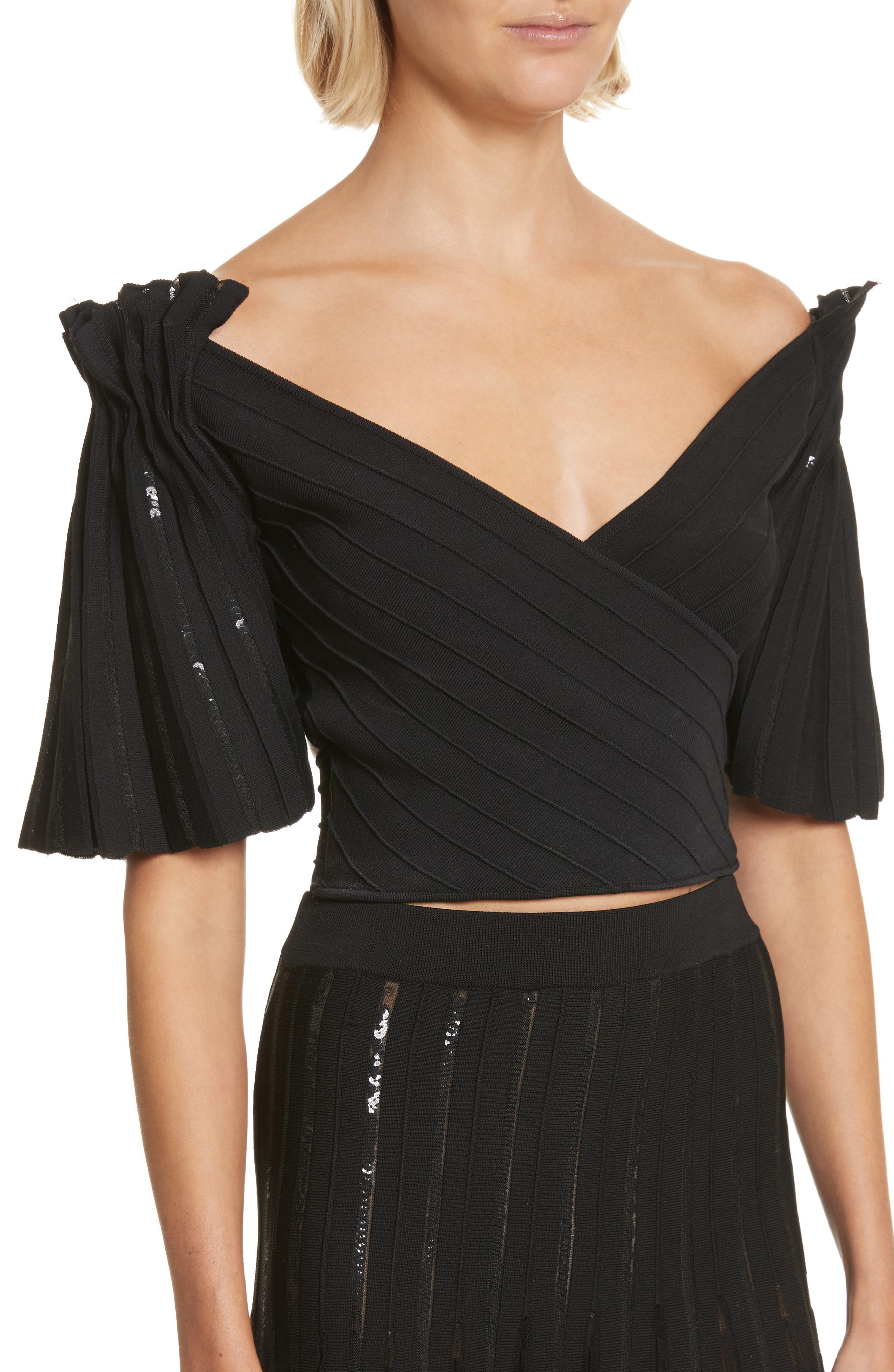Pleated Sequin Wrap Top,                             Alternate thumbnail 4, color,                             001