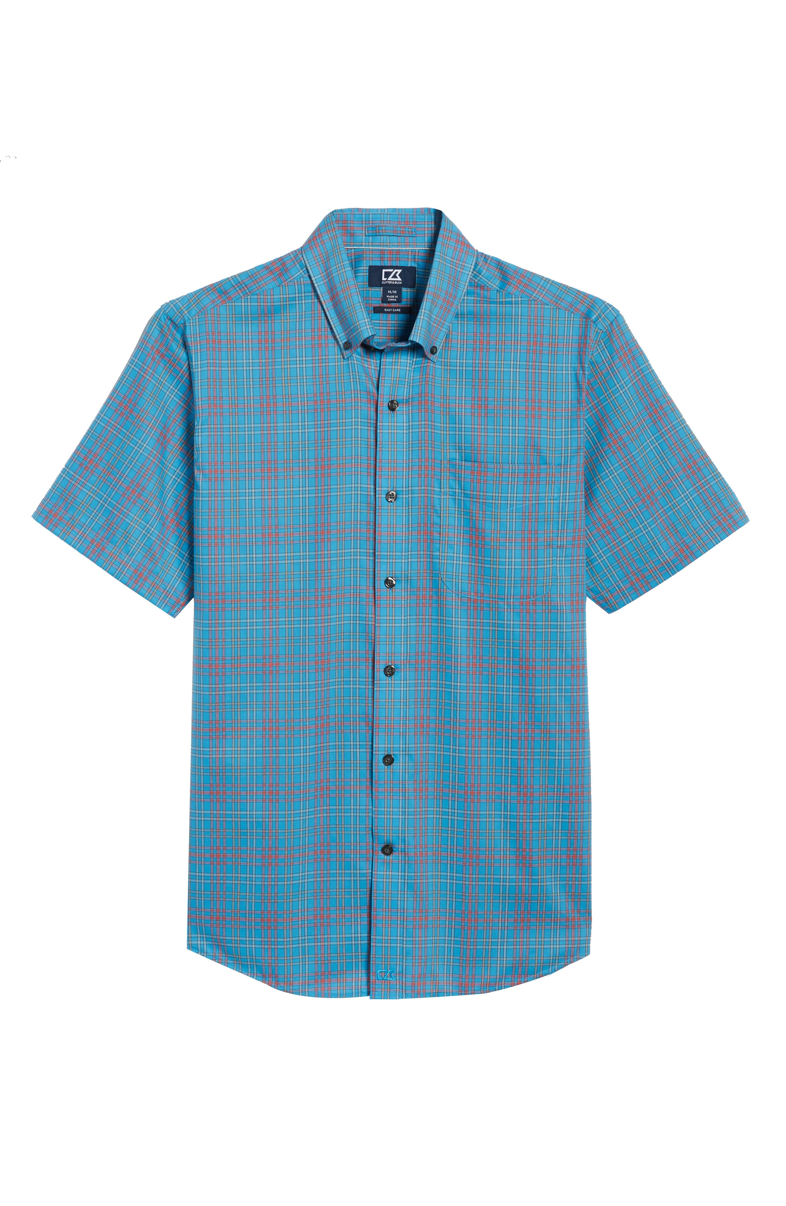 Isaac Classic Fit Easy Care Check Sport Shirt,                             Alternate thumbnail 6, color,                             POOLSIDE