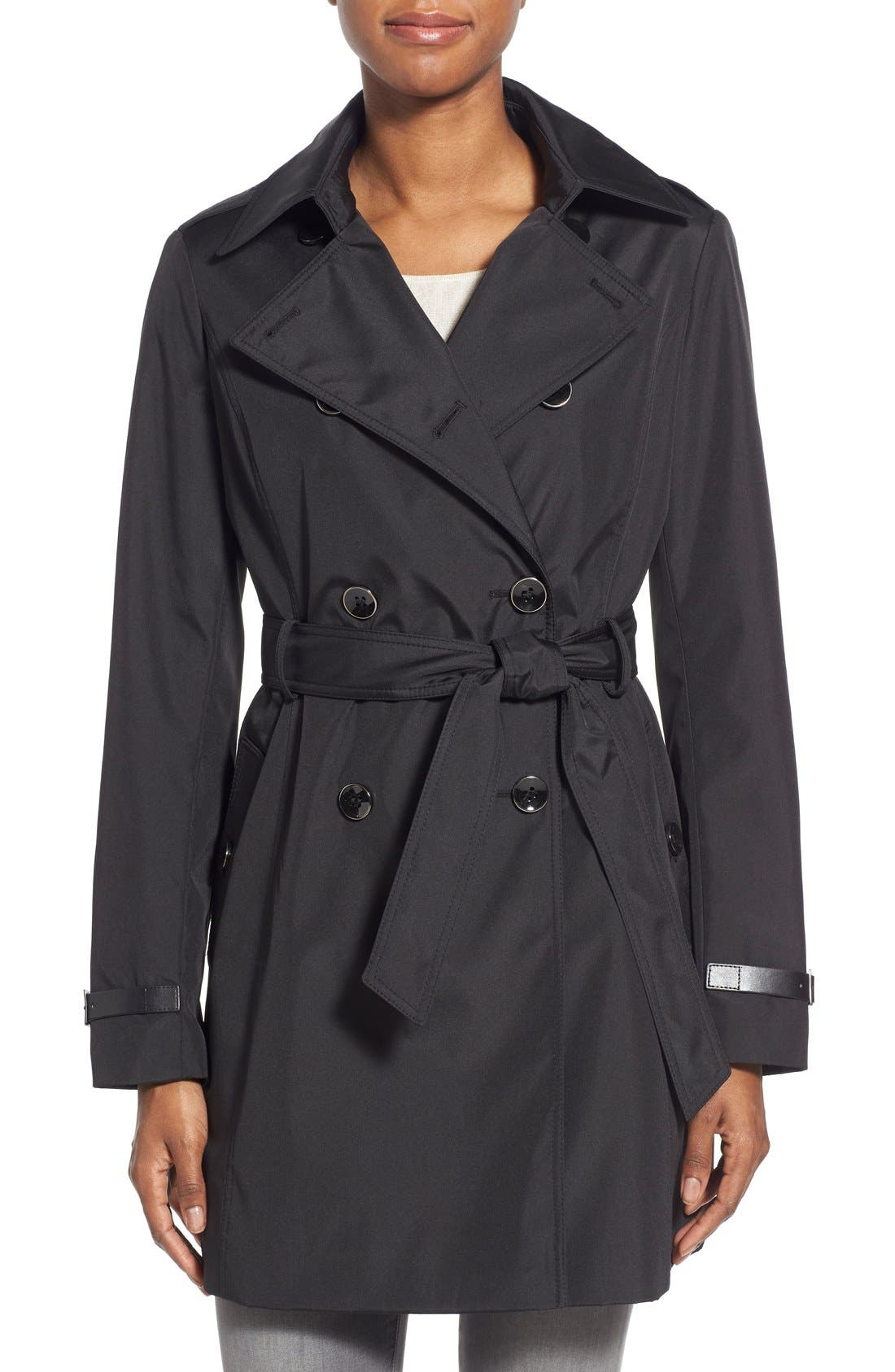Faux Leather Trim Trench Coat,                         Main,                         color, 001