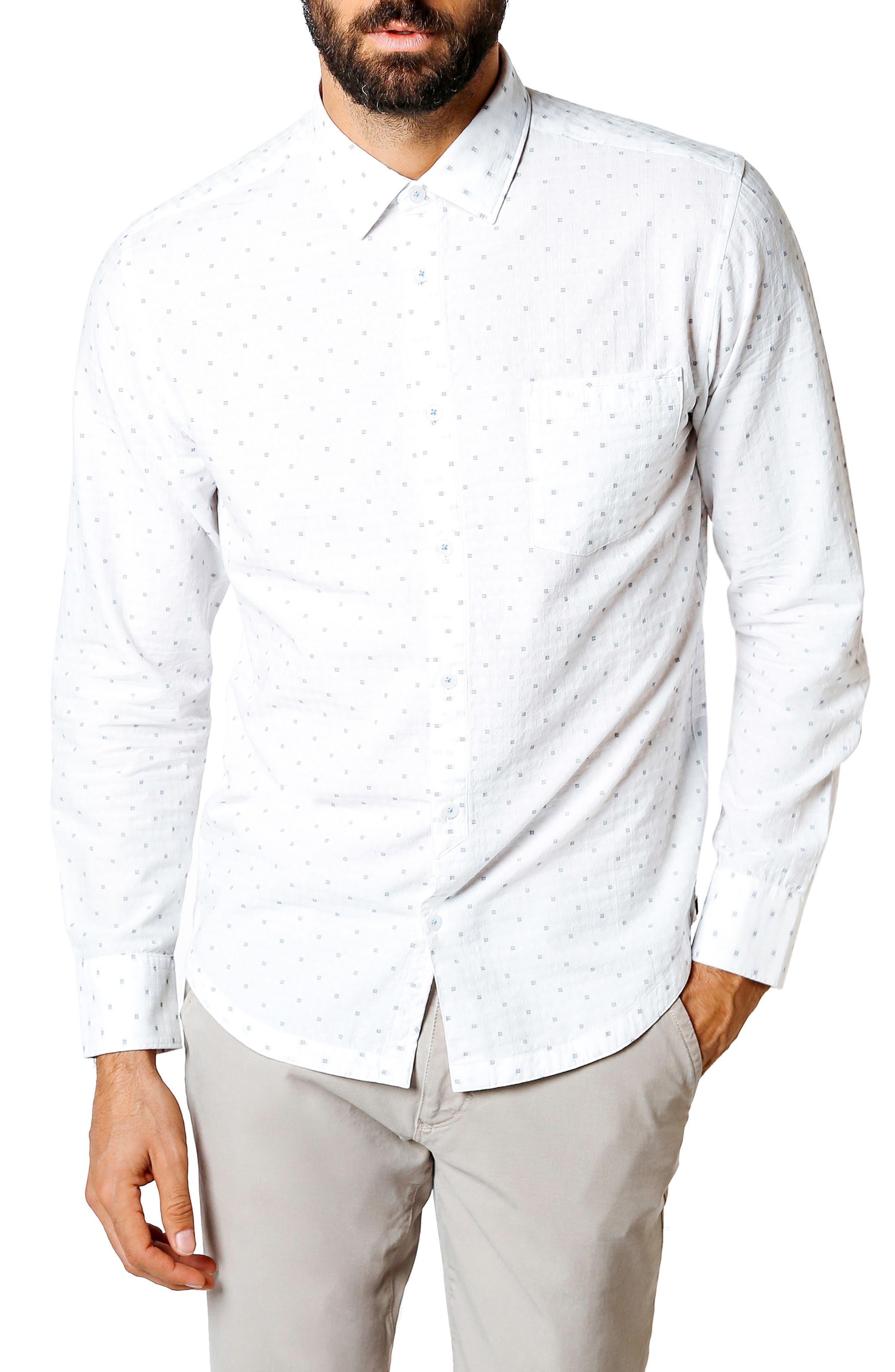 Trim Fit Geometric Sport Shirt,                         Main,                         color, 100