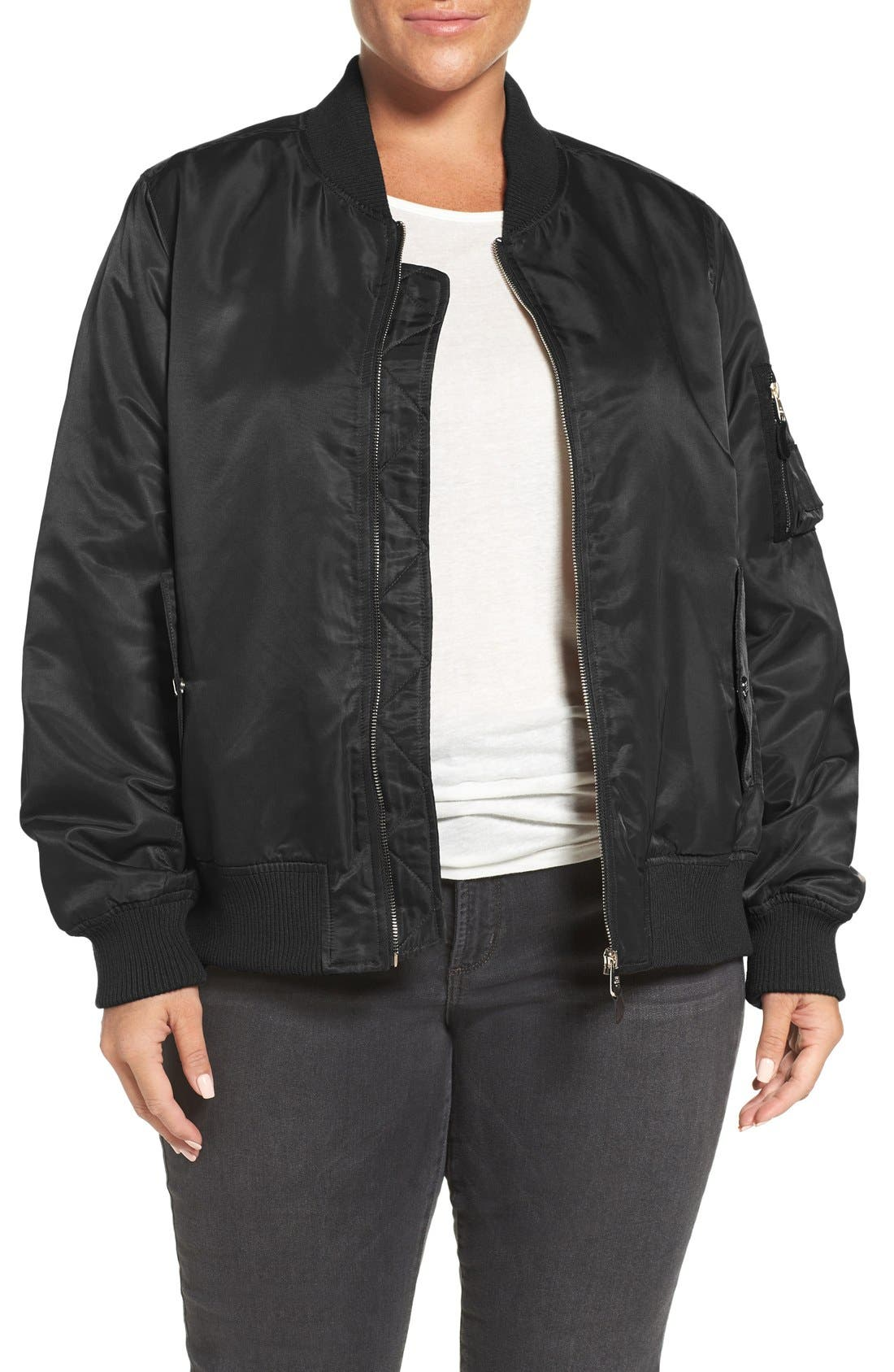 Flight Side Zip Bomber Jacket,                             Main thumbnail 1, color,                             001