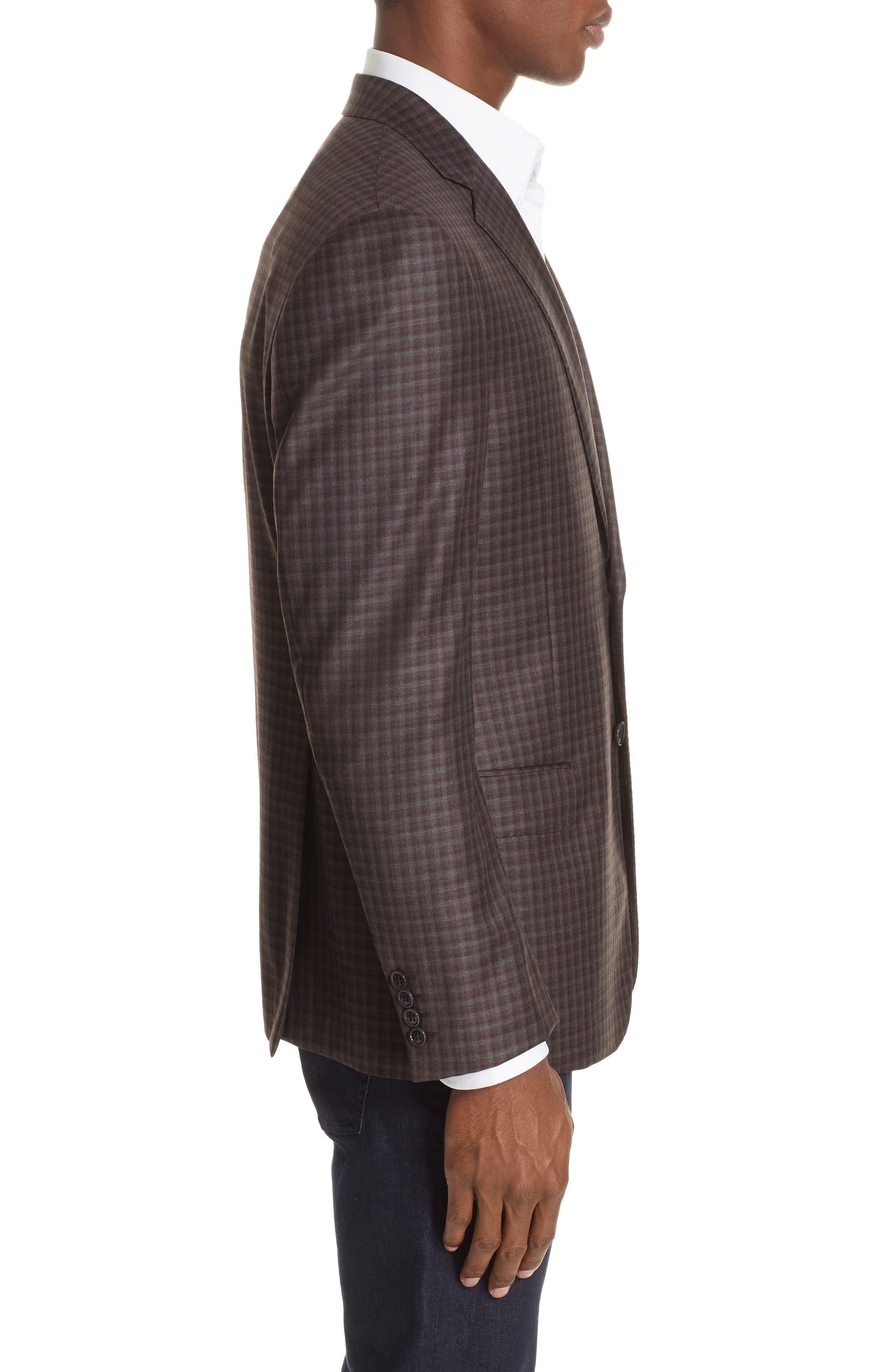 G-Line Trim Fit Plaid Wool Sport Coat,                             Alternate thumbnail 3, color,                             RED/ BROWN