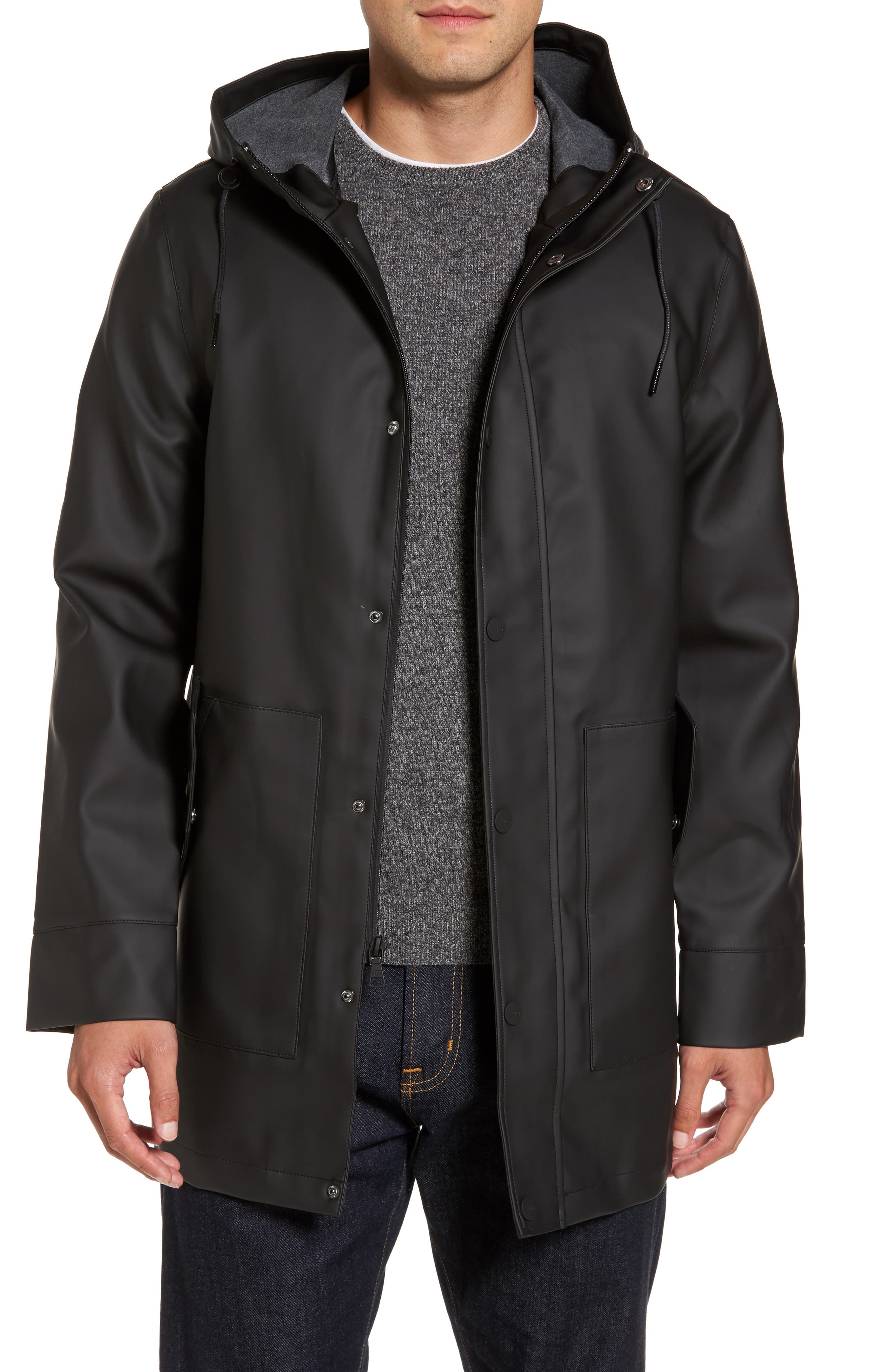 UGG<SUP>®</SUP> Hooded Raincoat, Main, color, 001