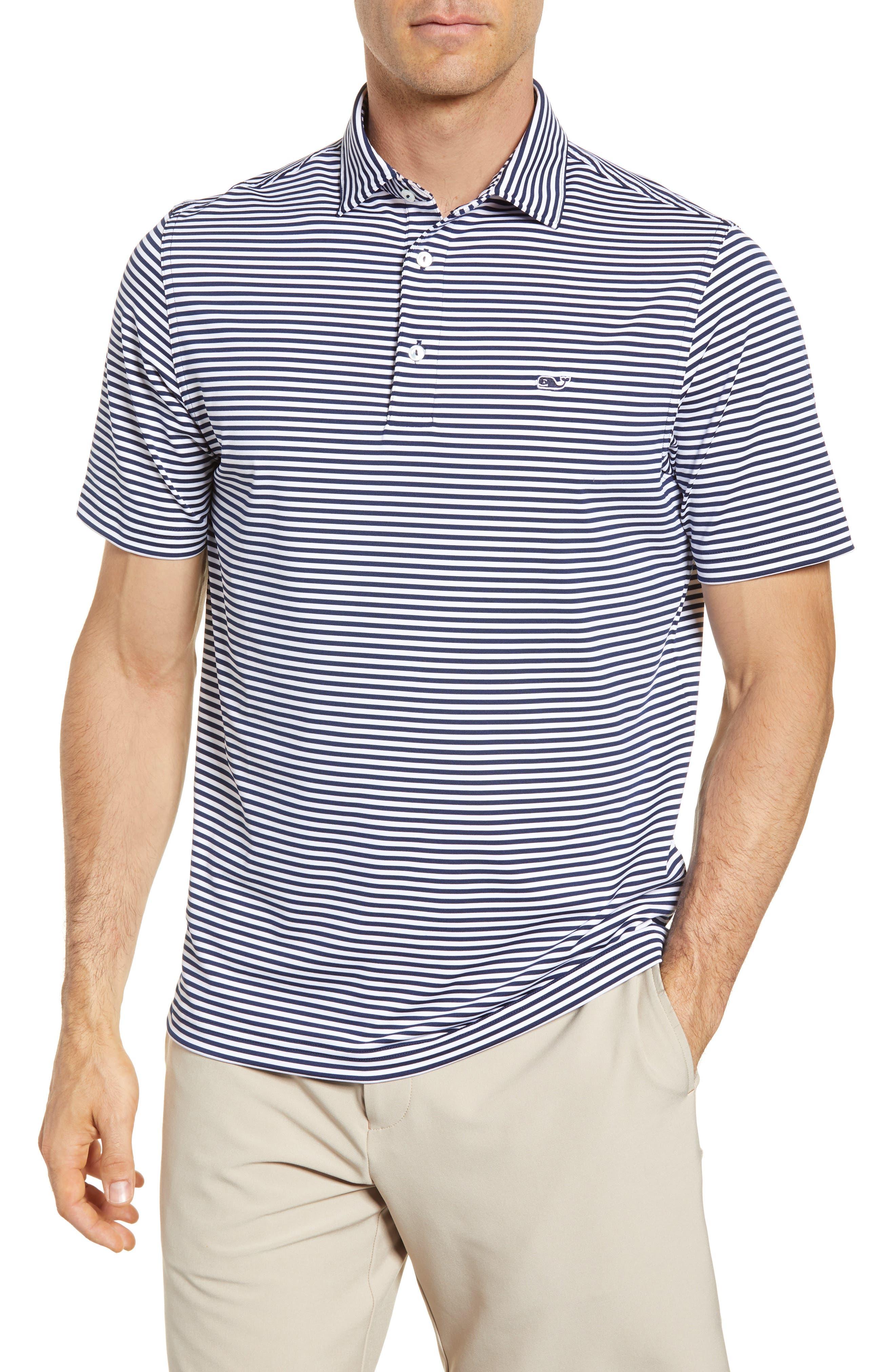 Color to White Feeder Stripe Polo,                         Main,                         color, 976