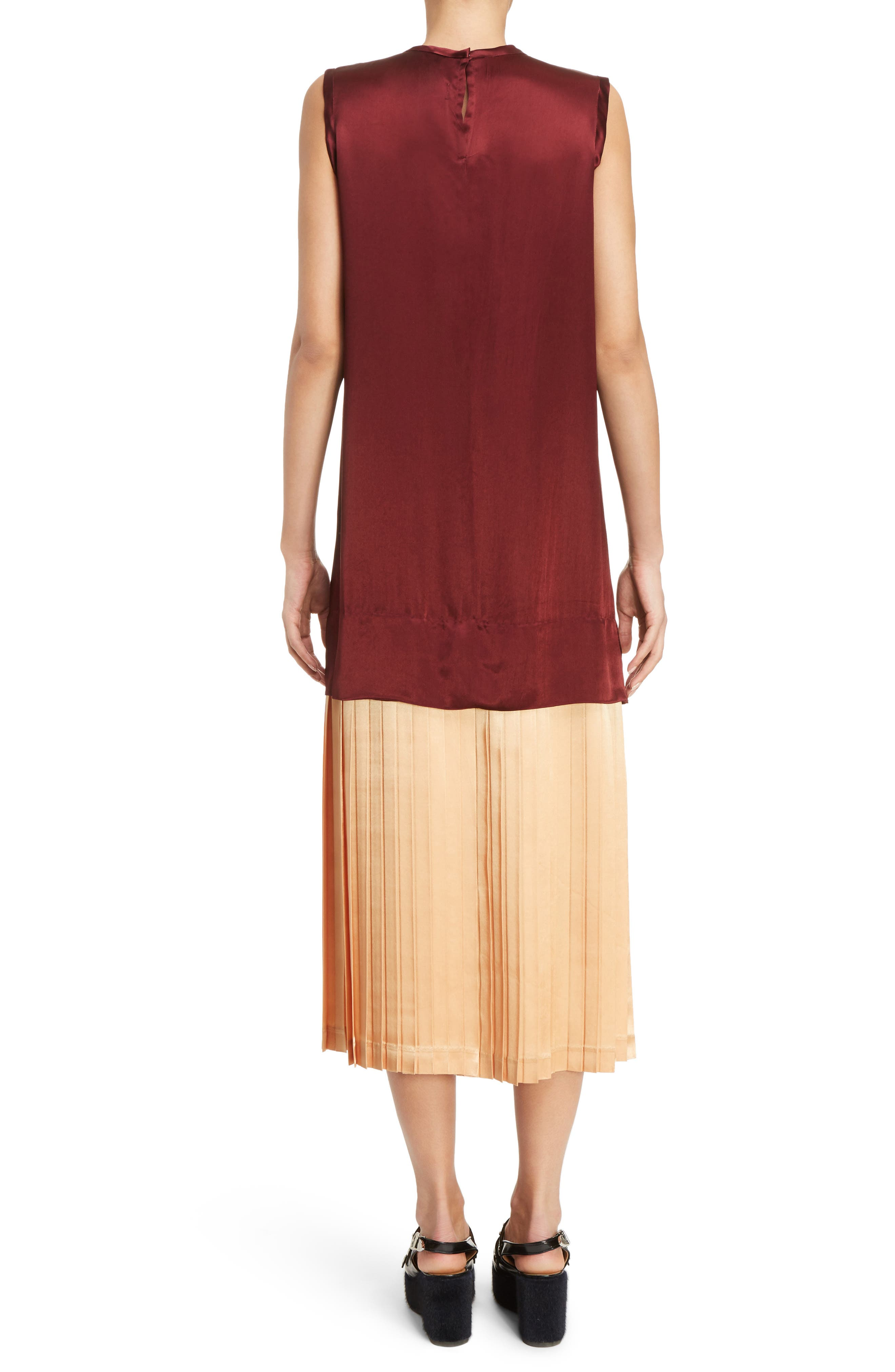 Mock Two-Piece Satin Dress,                             Alternate thumbnail 2, color,