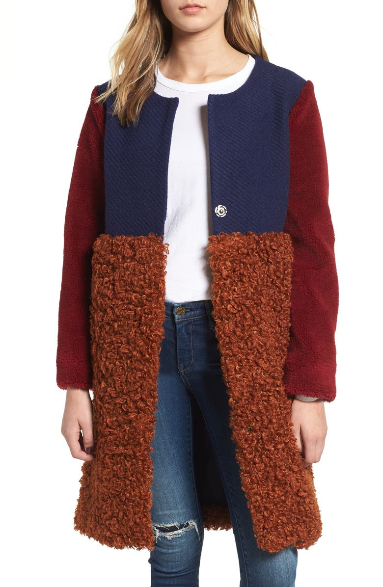 Endless Rose COLORBLOCK FAUX SHEARLING COAT