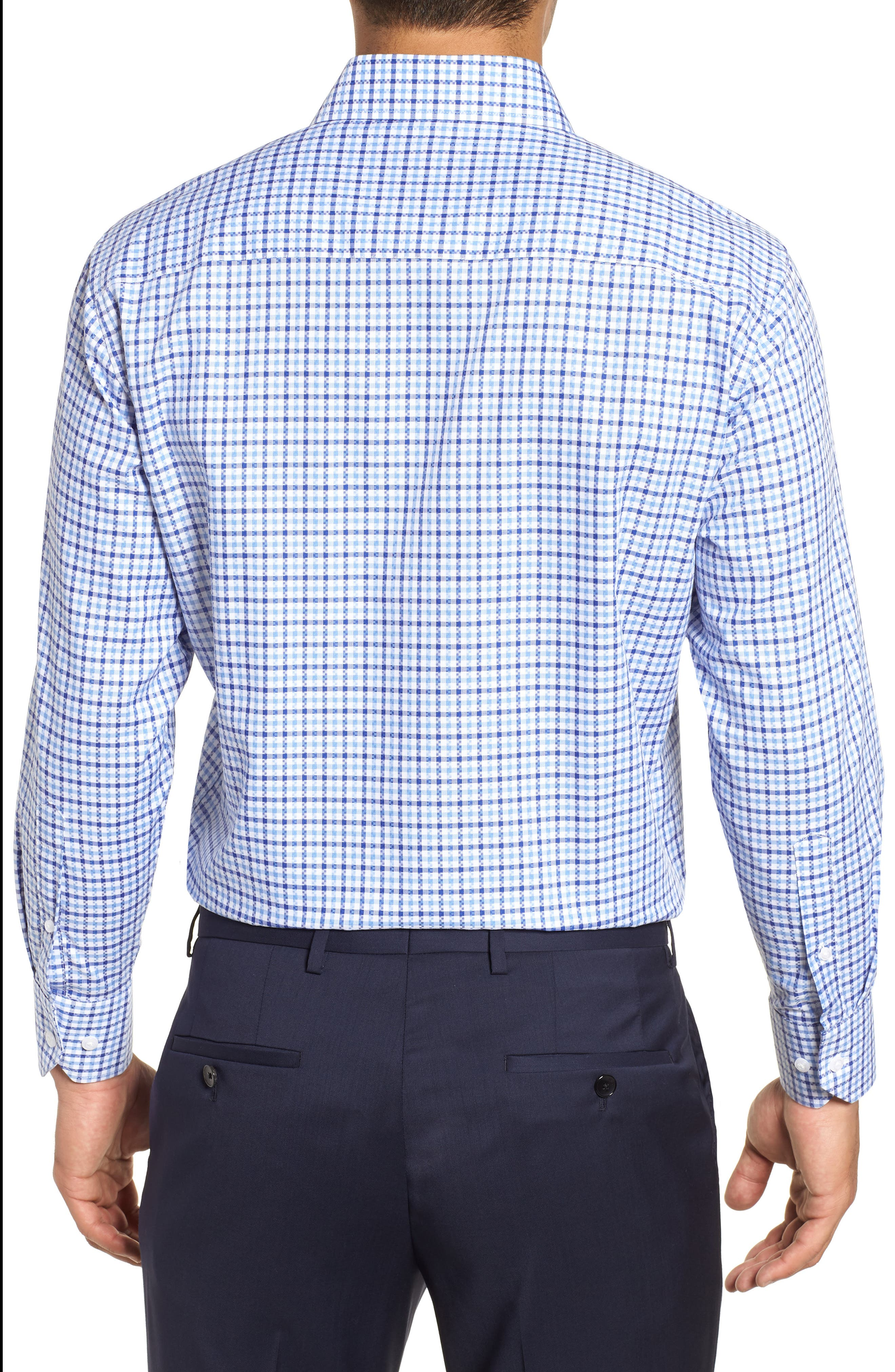 Regular Fit Check Dress Shirt,                             Alternate thumbnail 3, color,                             BLUE