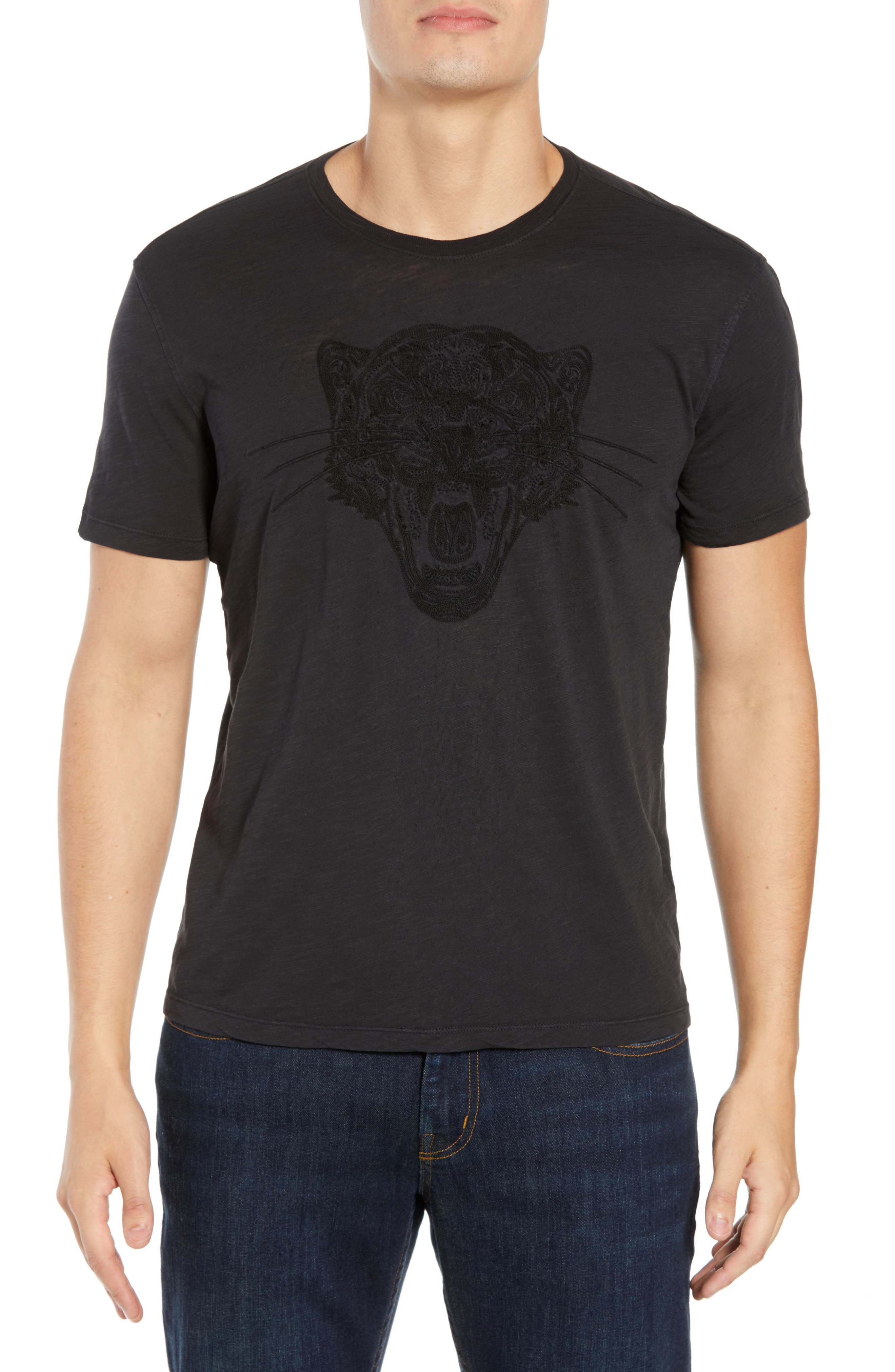 Embroidered Panther T-Shirt,                             Main thumbnail 1, color,                             BLACK