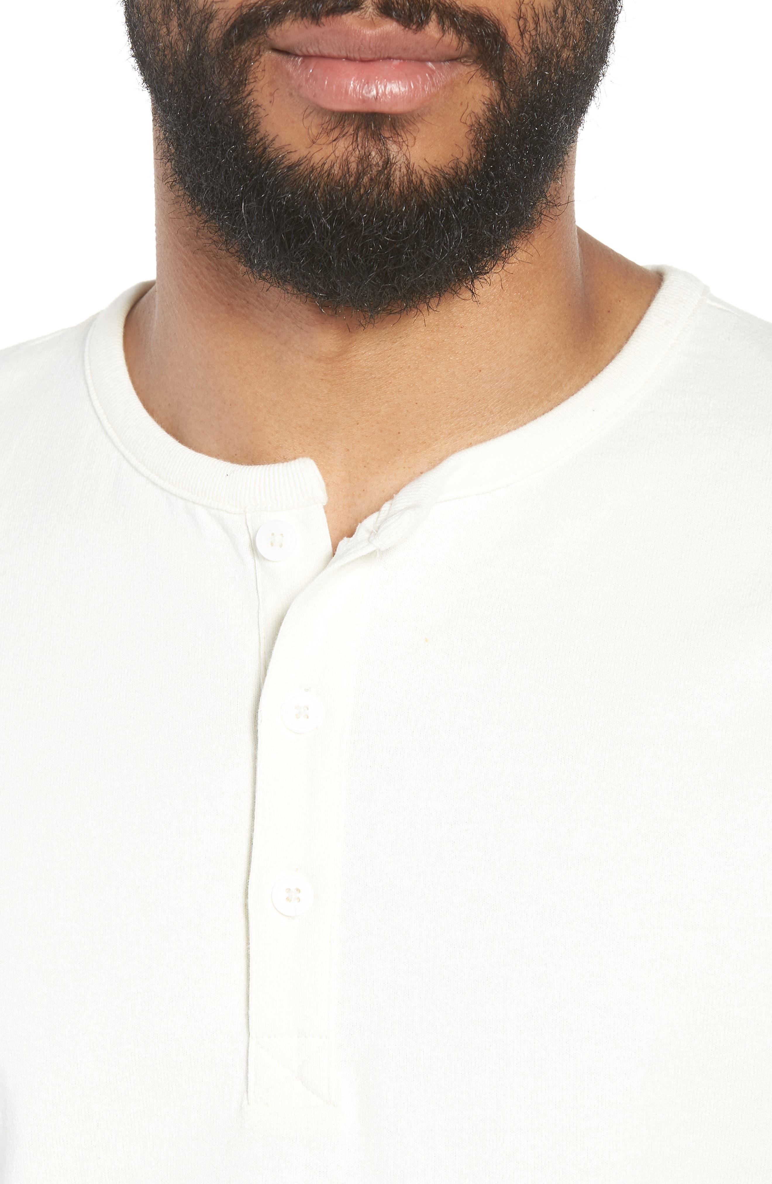 Slim Fit Henley T-Shirt,                             Alternate thumbnail 4, color,                             OFF WHITE