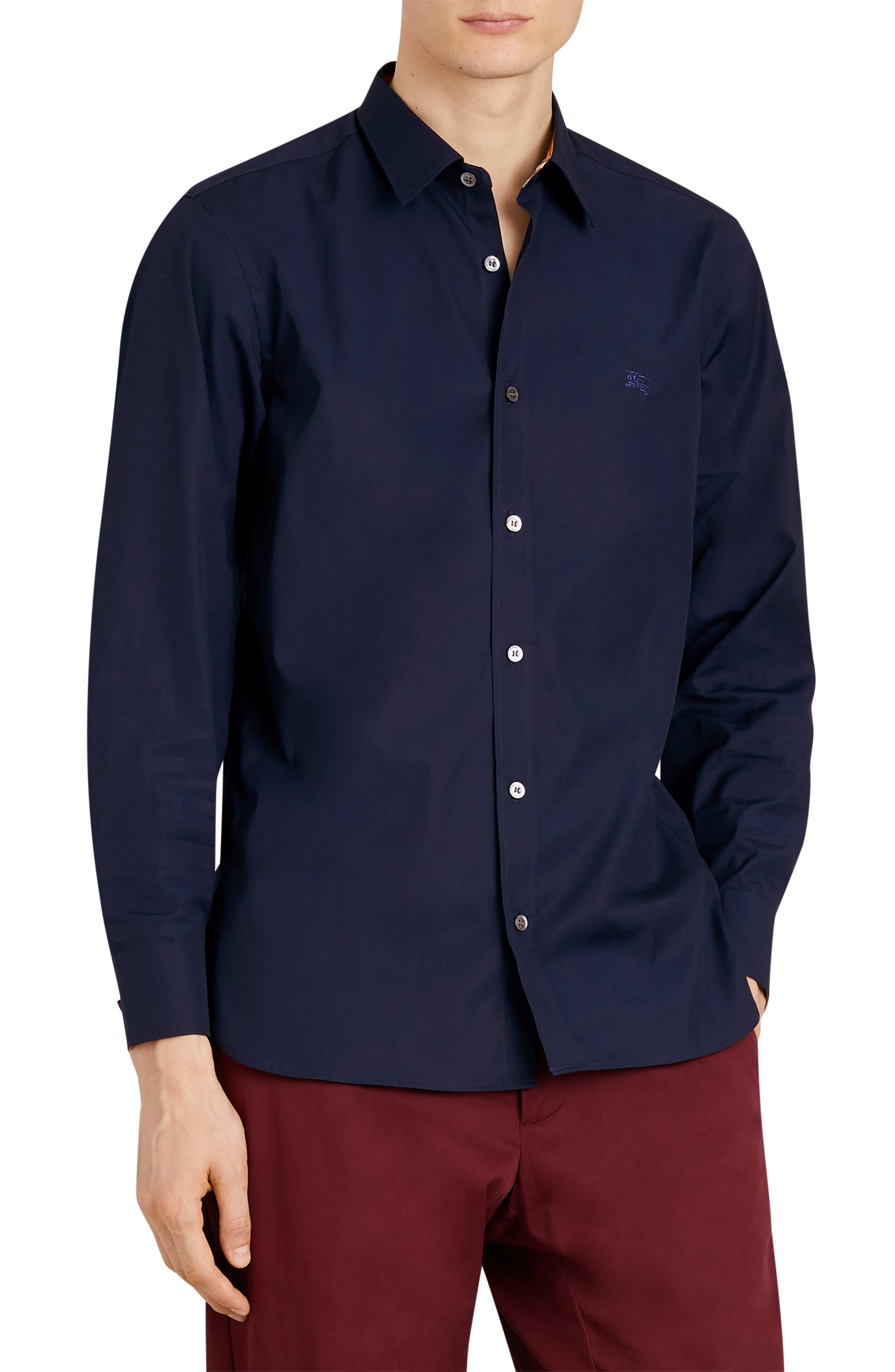 William Stretch Poplin Sport Shirt,                         Main,                         color, NAVY