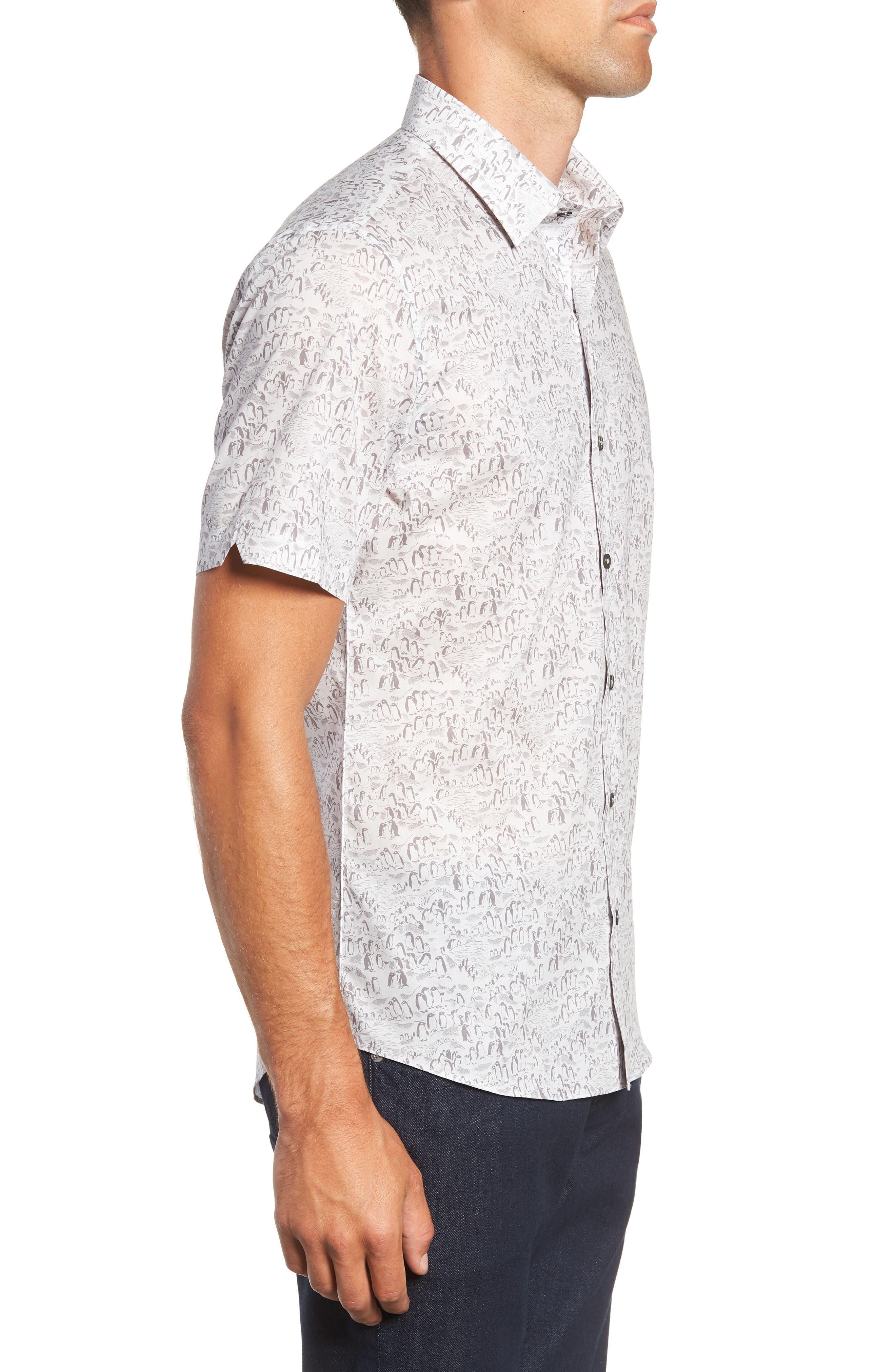 Burgess Regular Fit Sport Shirt,                             Alternate thumbnail 4, color,                             PEWTER