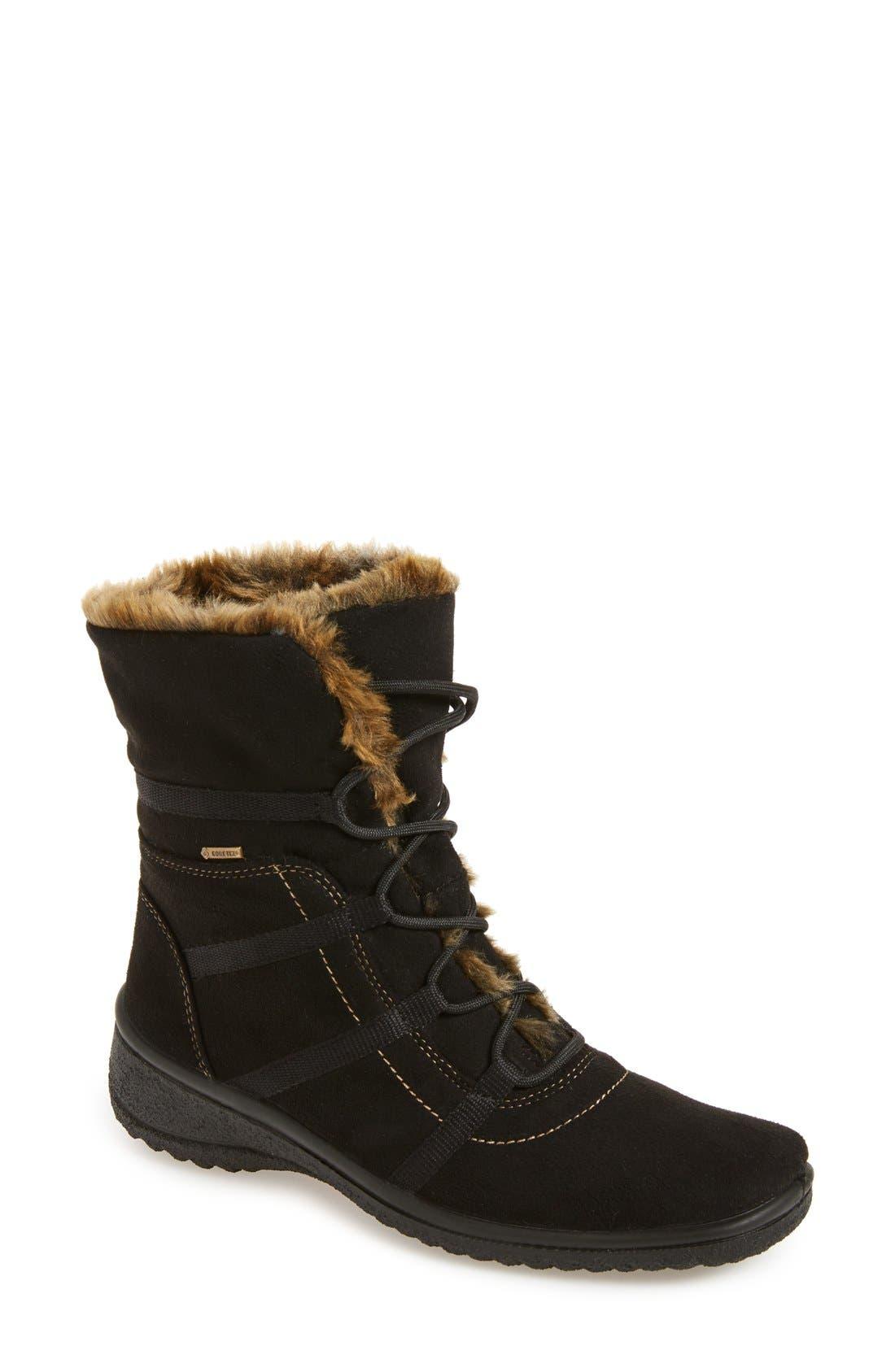 'Magaly' Waterproof Gore-Tex<sup>®</sup> Faux Fur Boot,                             Main thumbnail 1, color,                             BLACK FABRIC