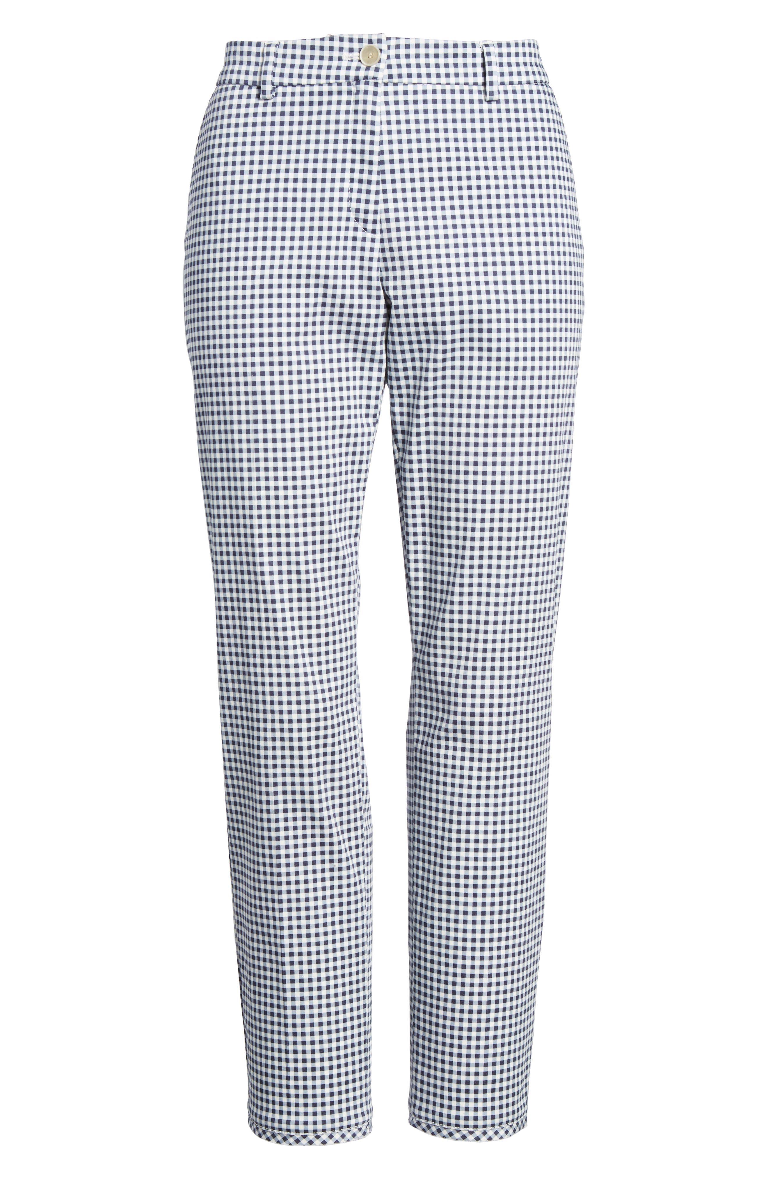 Maron Gingham Stretch Cotton Pants,                             Alternate thumbnail 6, color,                             OCEAN