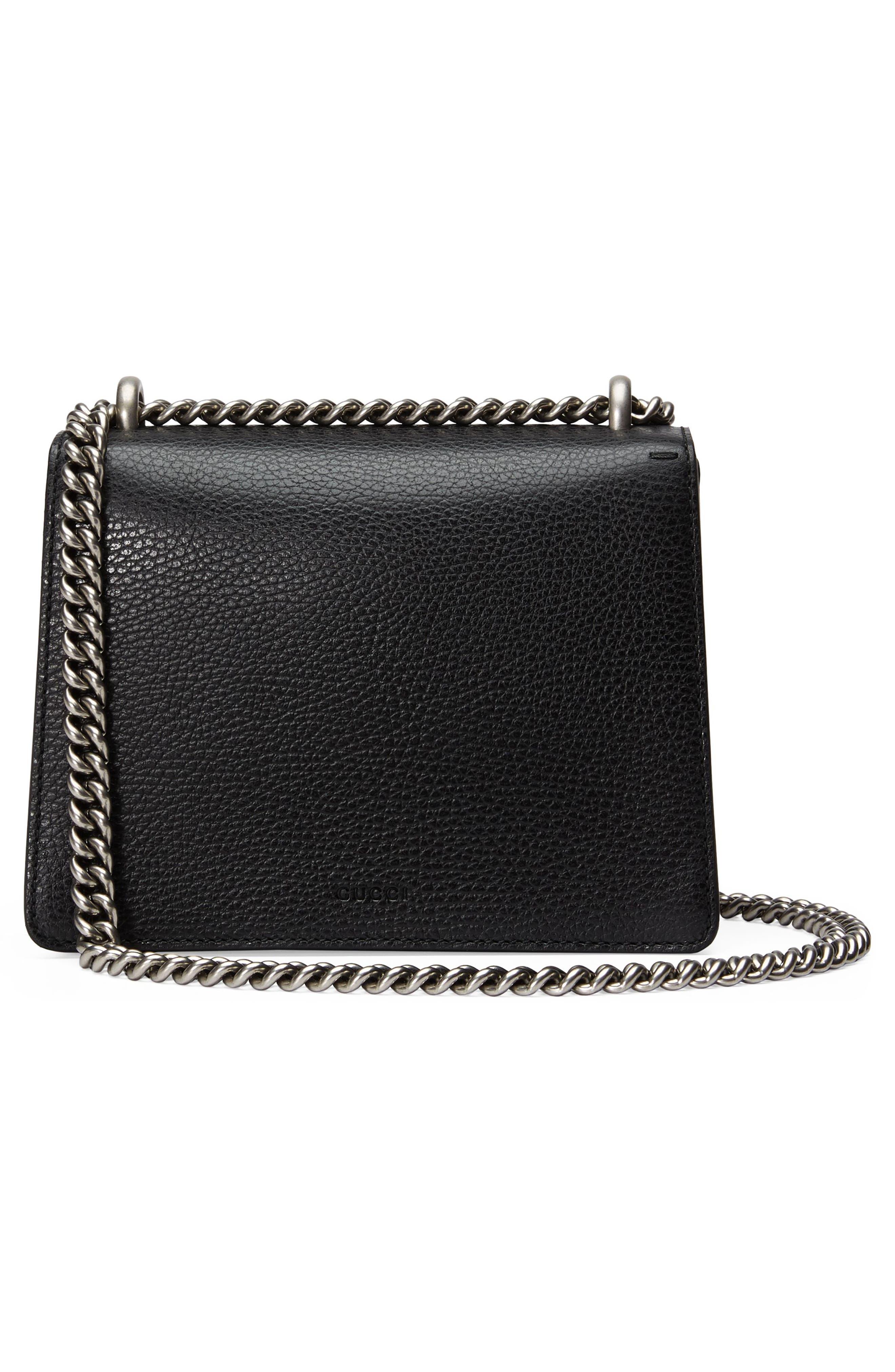 Mini Dionysus Leather Shoulder Bag,                             Alternate thumbnail 3, color,                             NERO/ BLACK DIAMOND