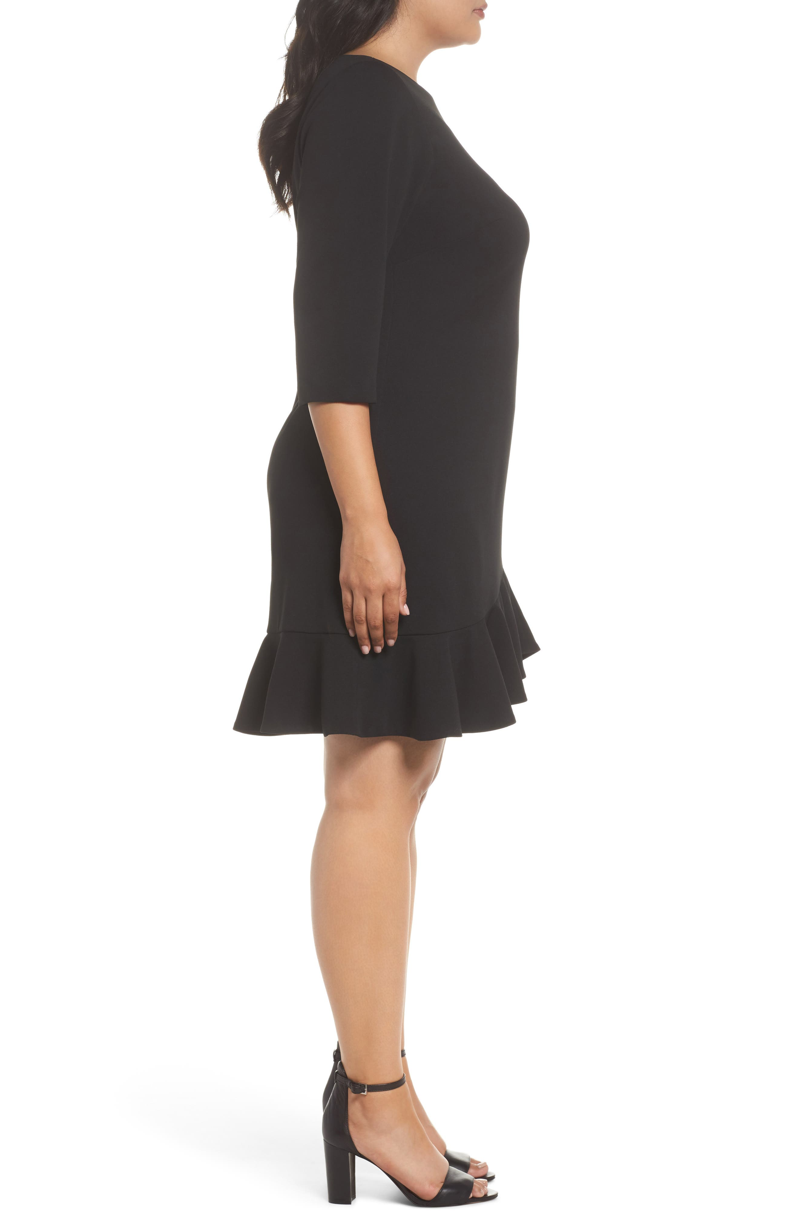 Scuba Crepe Sheath Dress,                             Alternate thumbnail 3, color,                             001