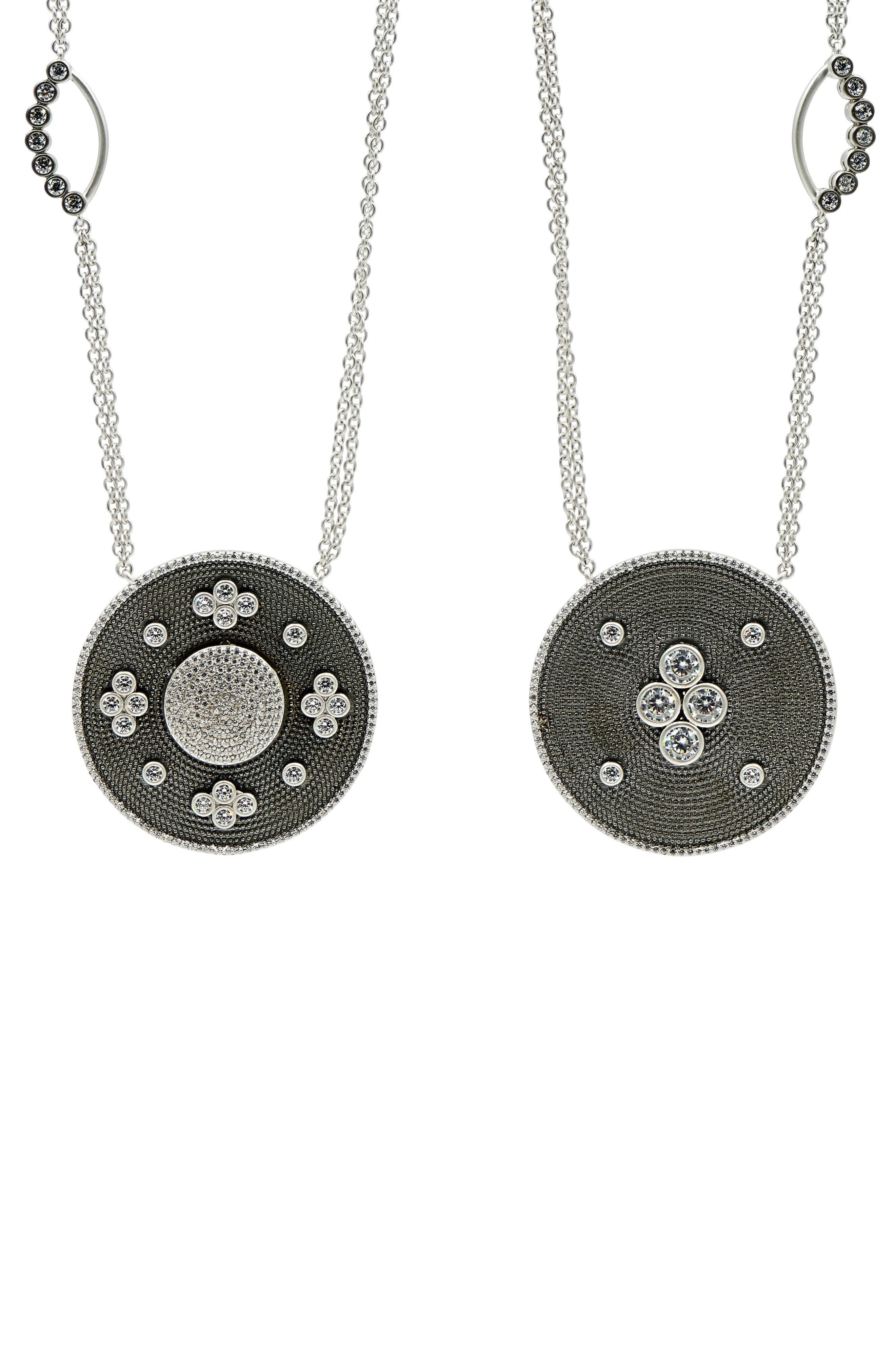 Industrial Finish Pendant Necklace,                             Alternate thumbnail 4, color,                             BLACK/ SILVER