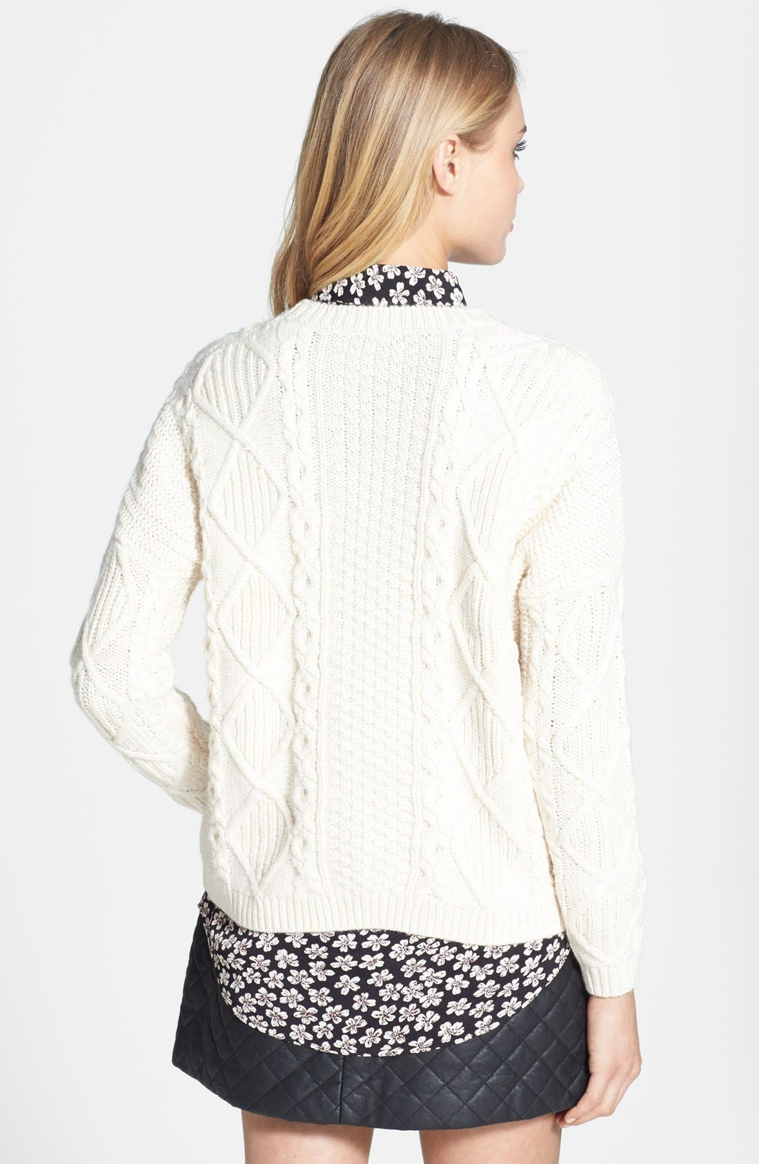 Cable Knit Boxy Sweater,                             Alternate thumbnail 5, color,                             900
