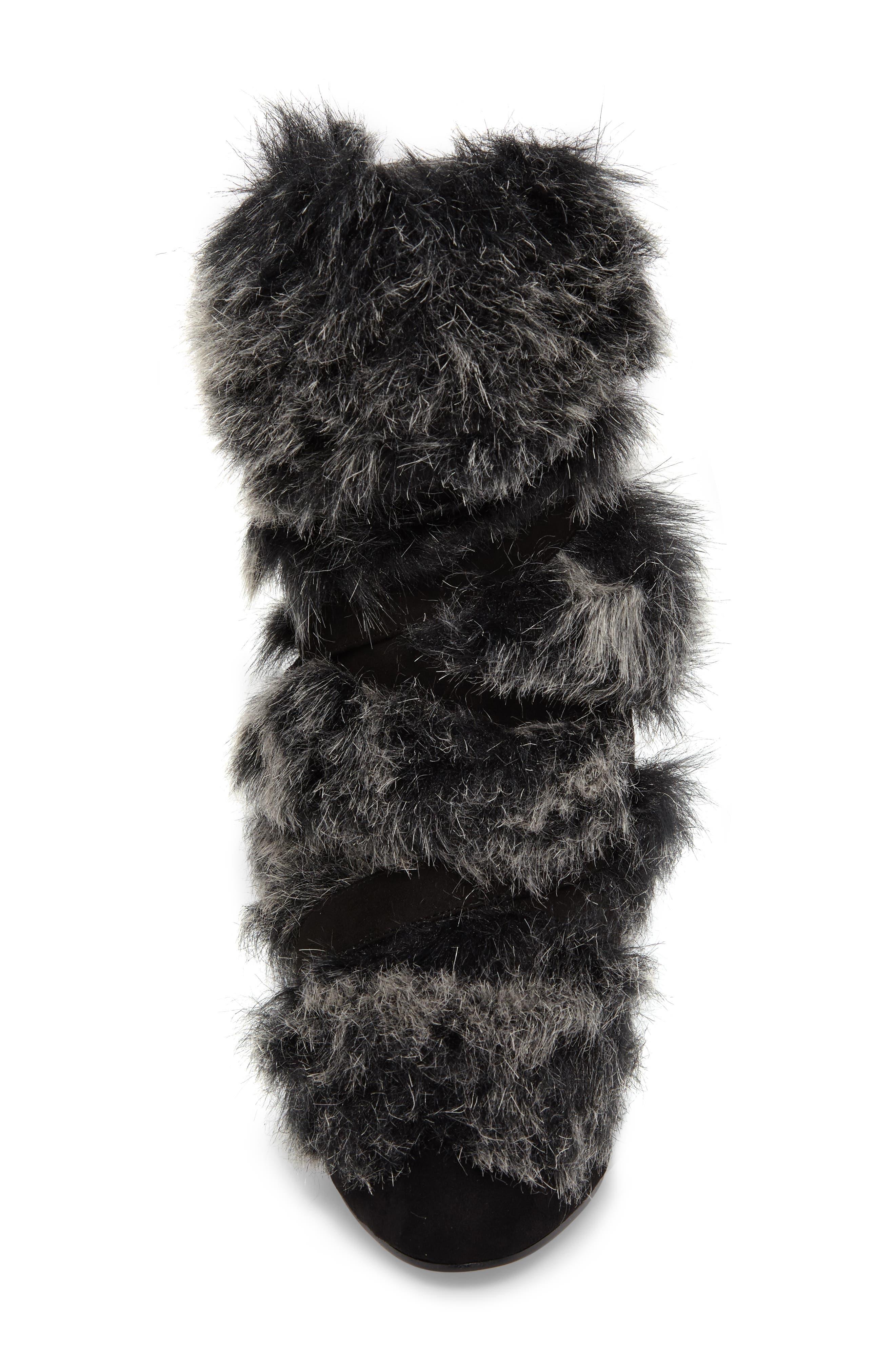 Alberta Faux Fur Boot,                             Alternate thumbnail 4, color,                             001