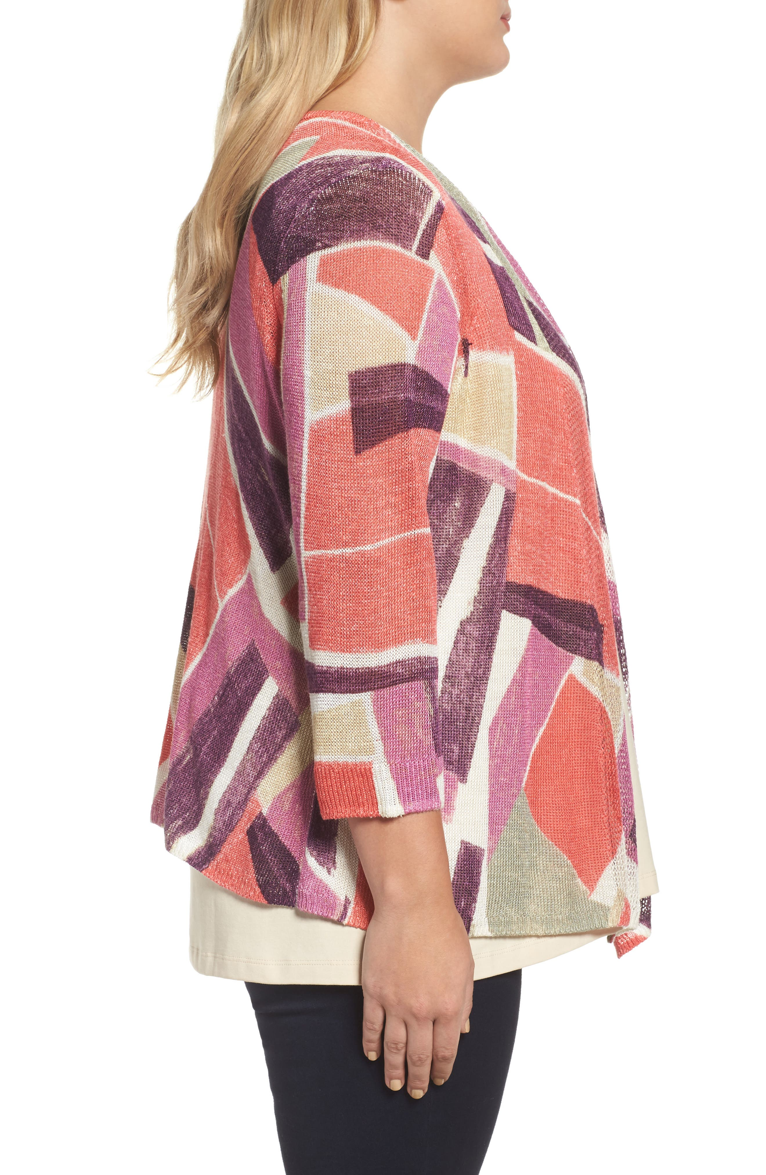 Bold Blocked Drape Front Cardigan,                             Alternate thumbnail 3, color,                             MULTI