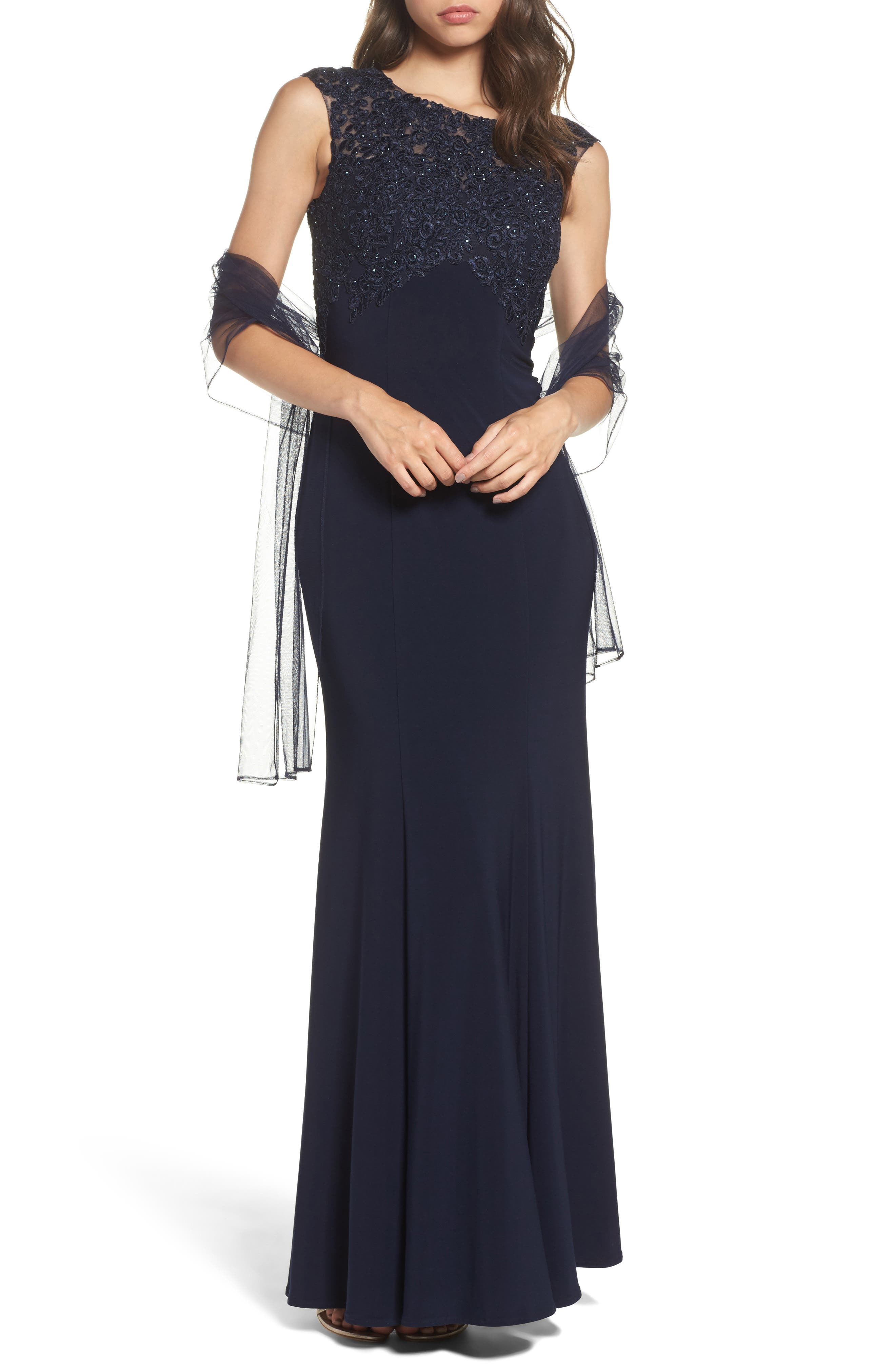 Crystal Embroidered Mermaid Gown,                         Main,                         color, 400