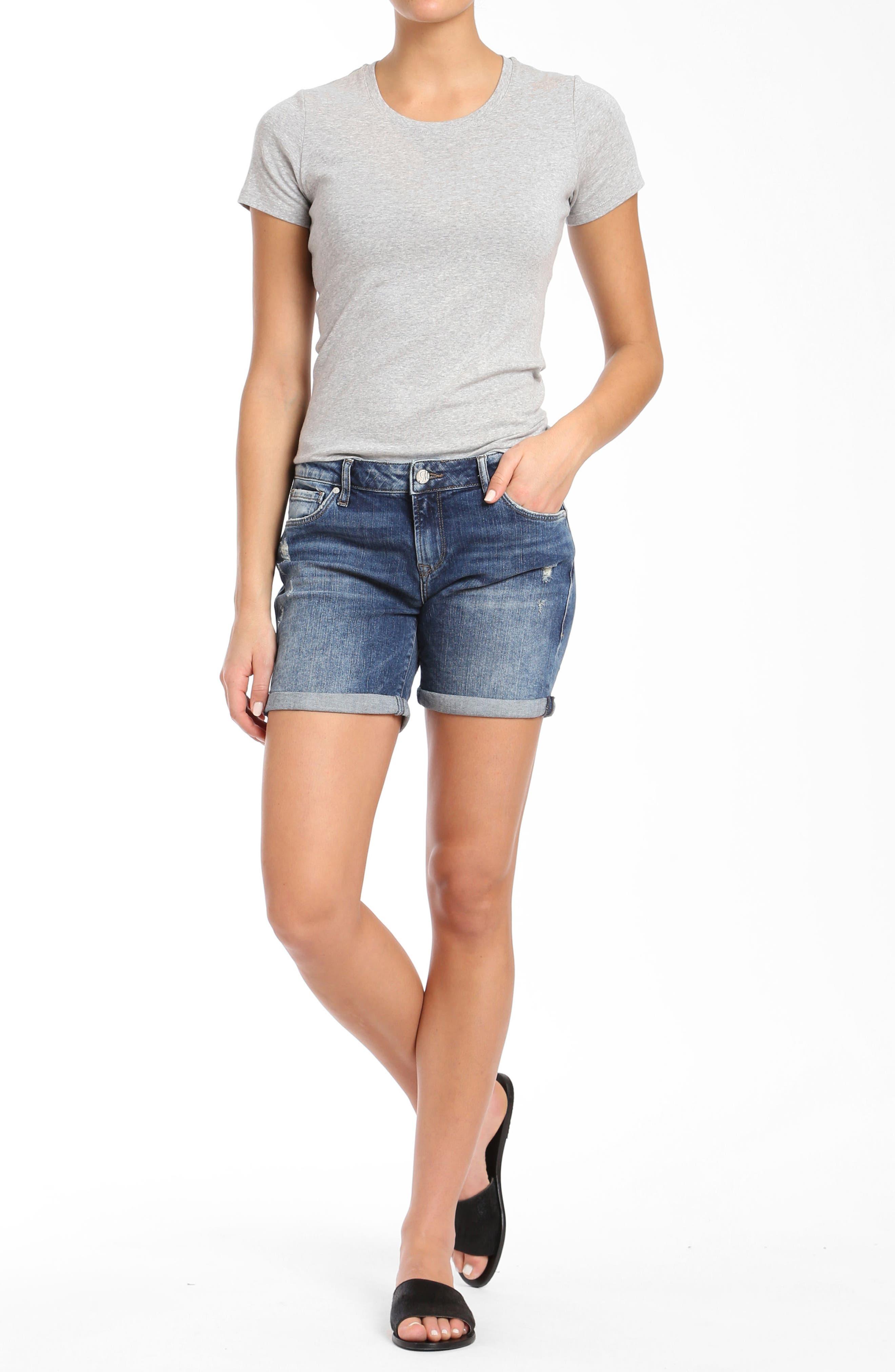 Pixie Denim Shorts,                             Alternate thumbnail 4, color,                             401