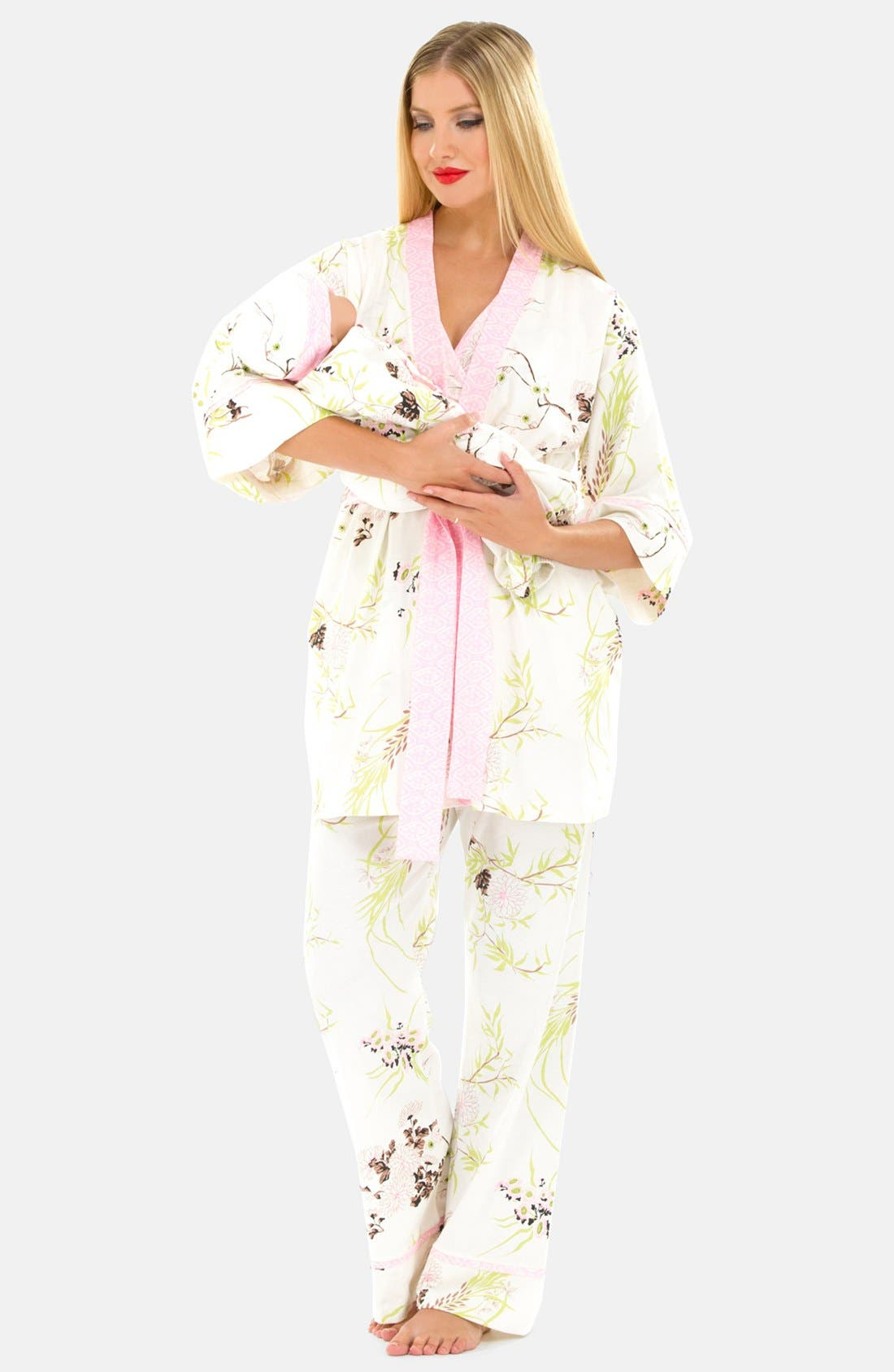 Five-Piece Maternity Sleepwear Gift Set,                             Main thumbnail 1, color,                             PINK PRINT