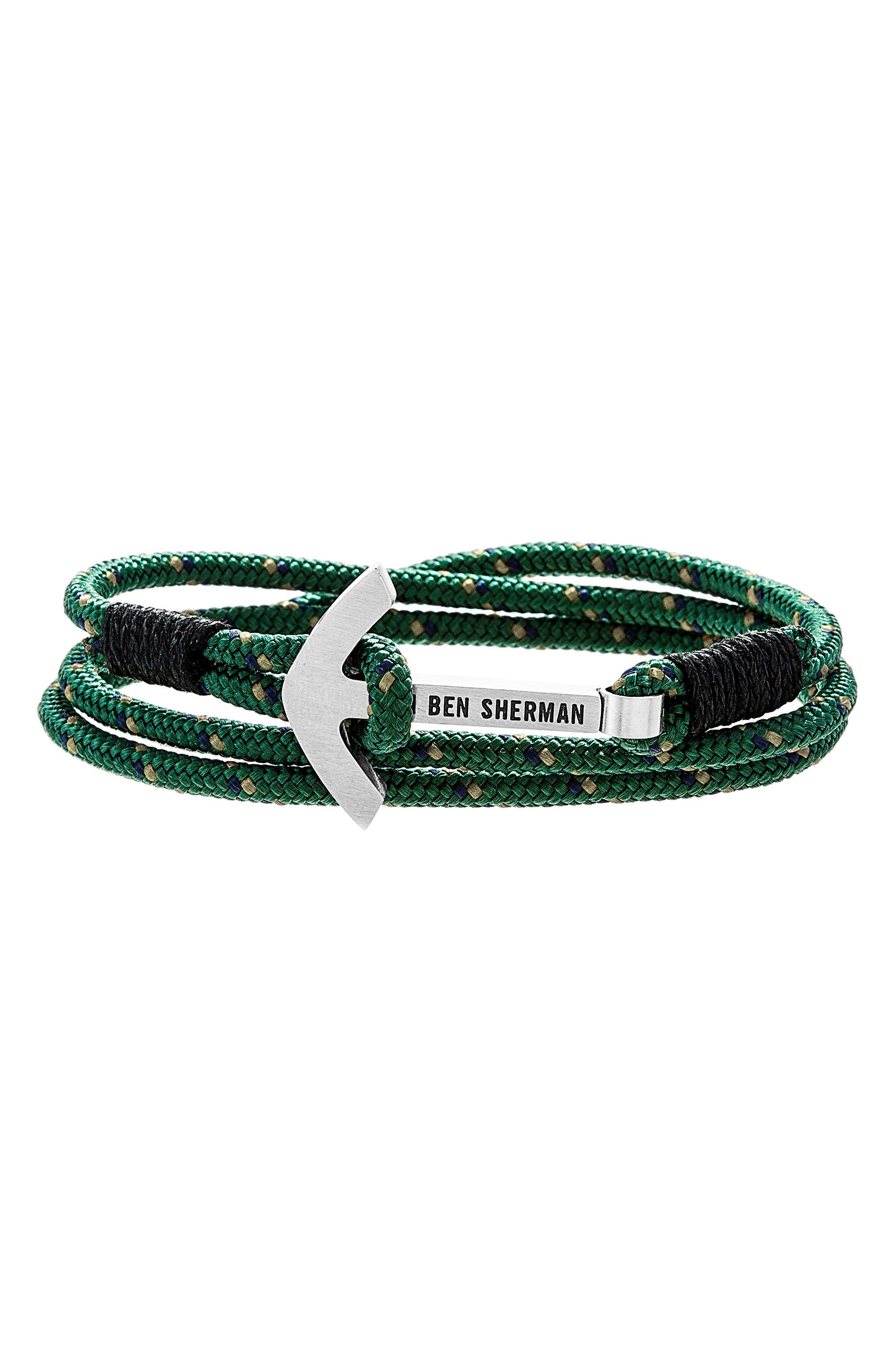Anchor Braided Cord Bracelet,                             Main thumbnail 1, color,                             BLACK/ GREEN/ SILVER