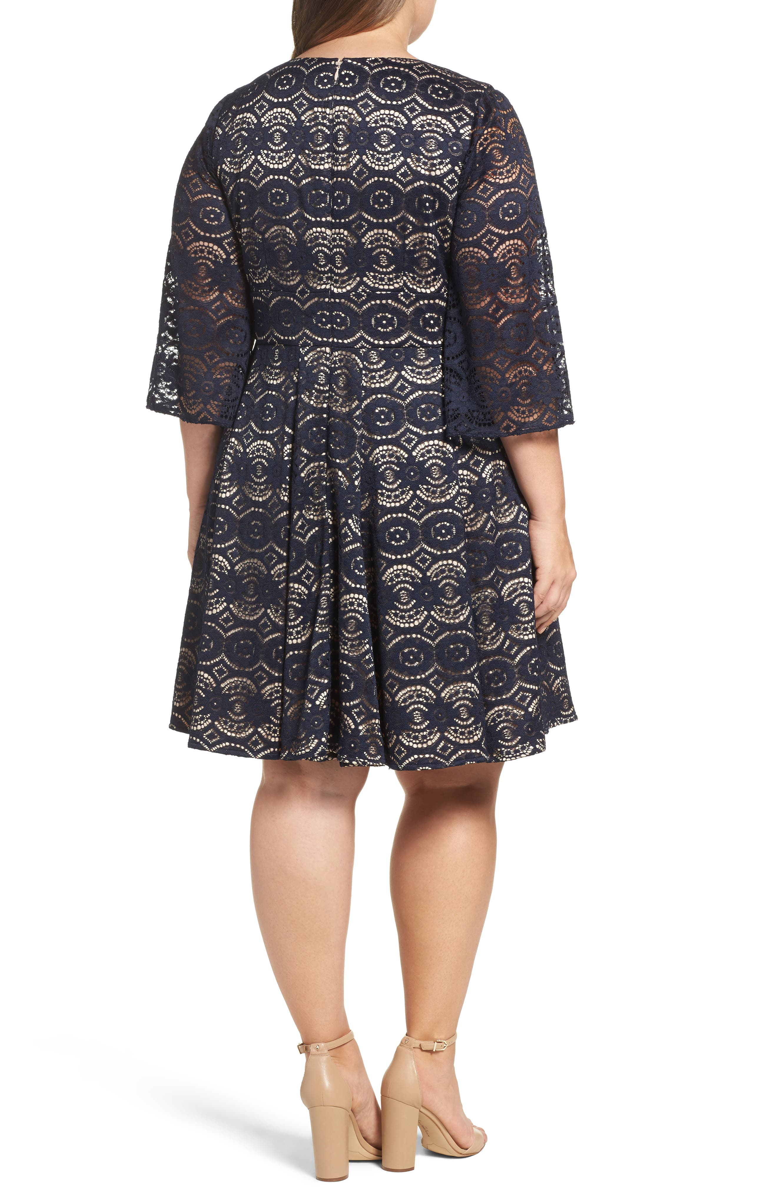Bell Sleeve Lace Fit & Flare Dress,                             Alternate thumbnail 2, color,