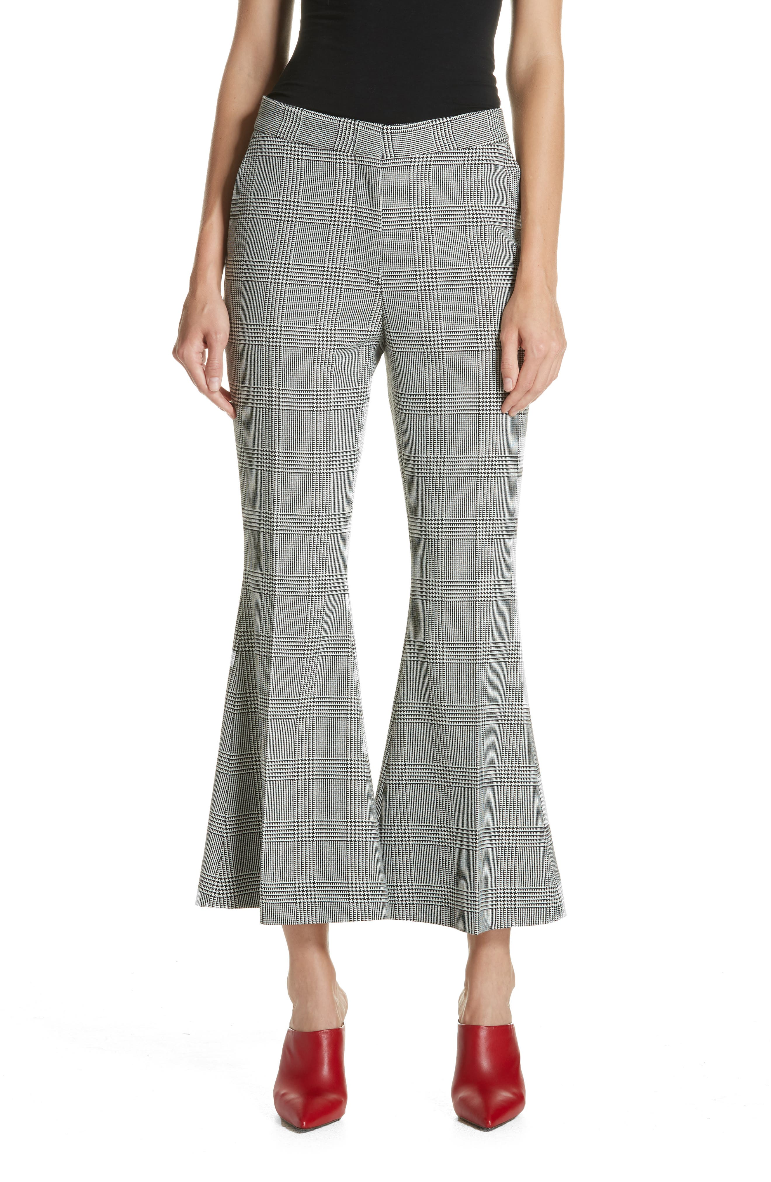 Checked Crop Flare Trousers,                             Main thumbnail 1, color,                             BLACK/ WHITE