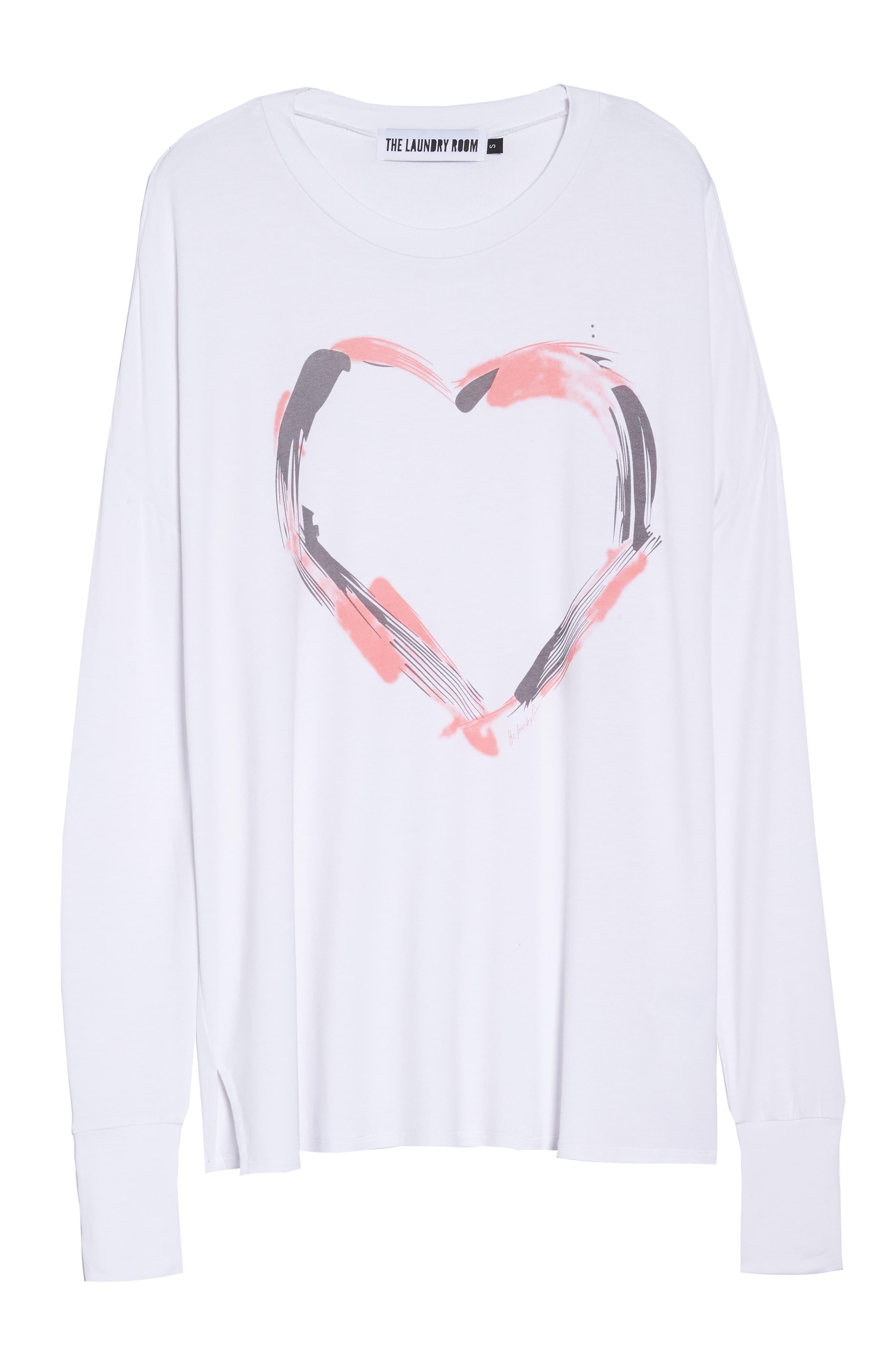 Heart Strokes Sleep Shirt,                             Alternate thumbnail 6, color,                             WHITE