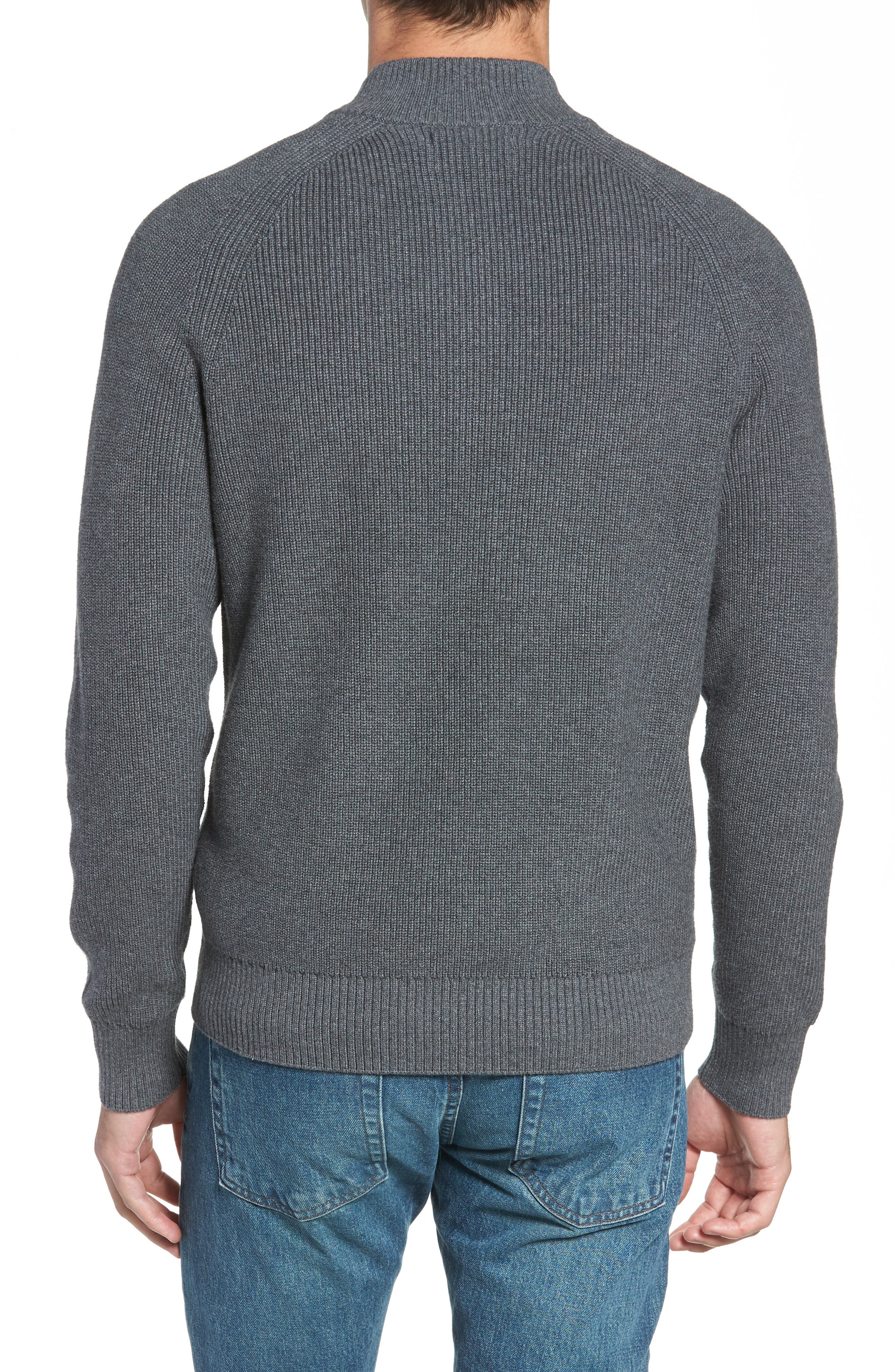 Ribbed Quarter Zip Sweater,                             Alternate thumbnail 2, color,                             GREY CASTLEROCK