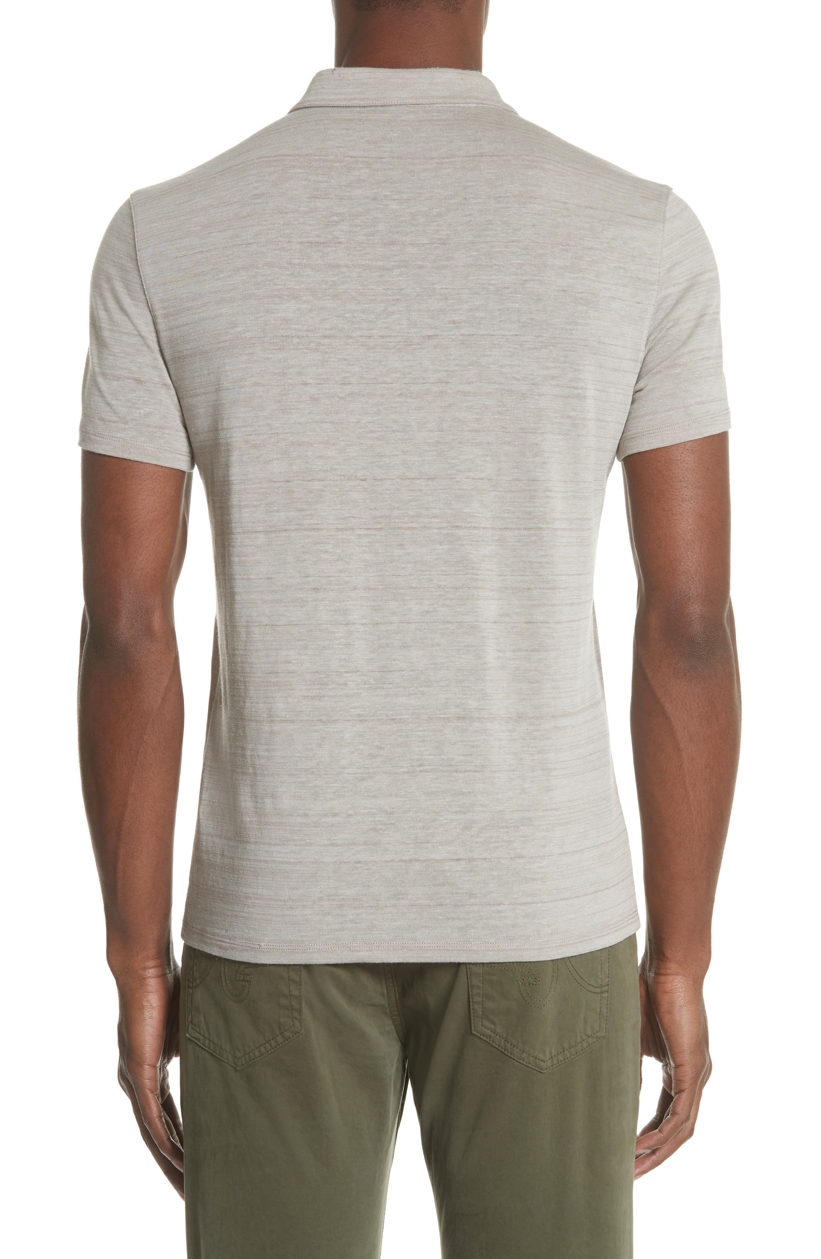 Stripe Zip Polo Shirt,                             Alternate thumbnail 2, color,                             WHEAT