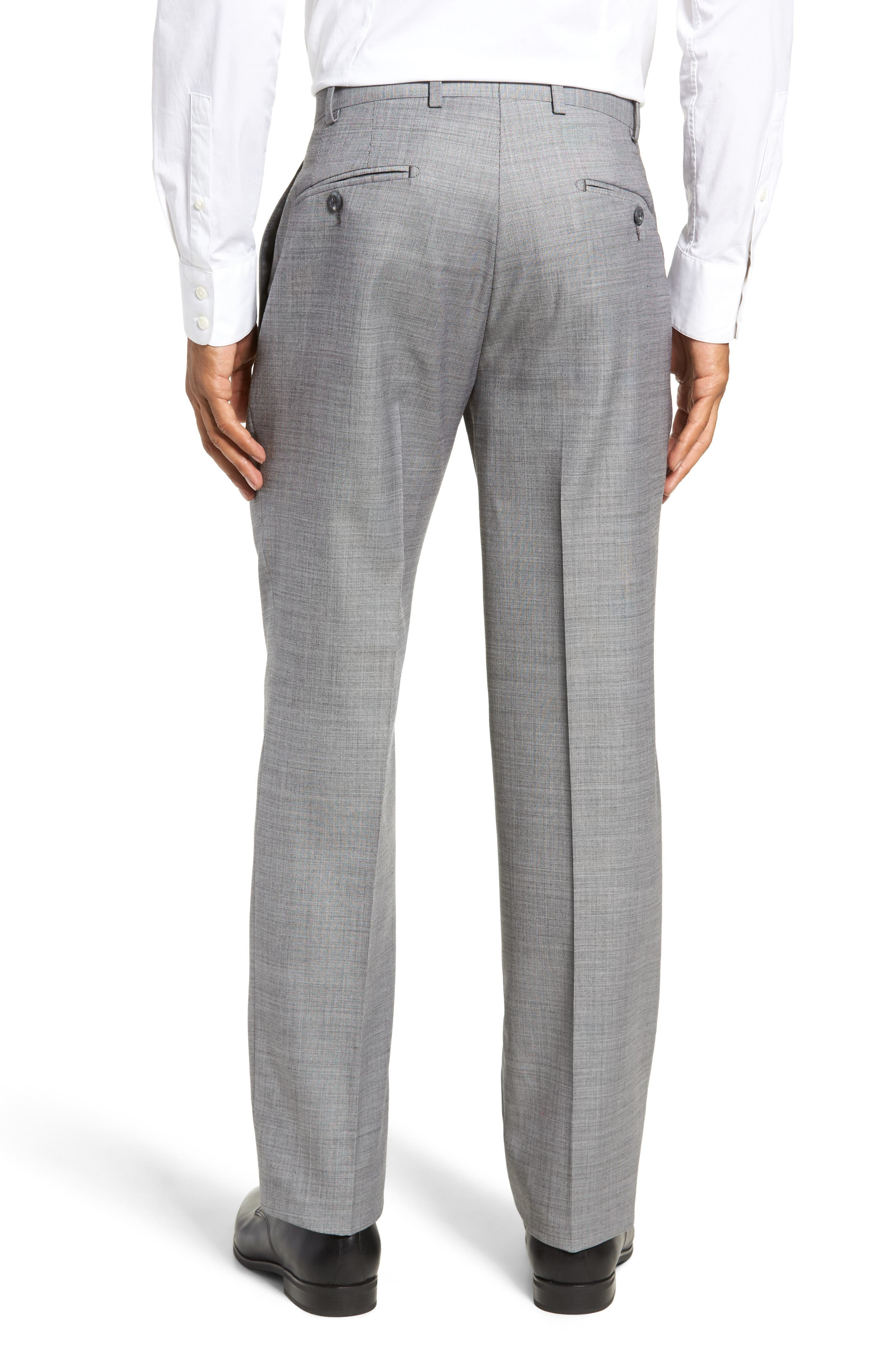 Traditional Fit Flat Front Solid Wool Trousers,                             Alternate thumbnail 2, color,                             GREY PEARL